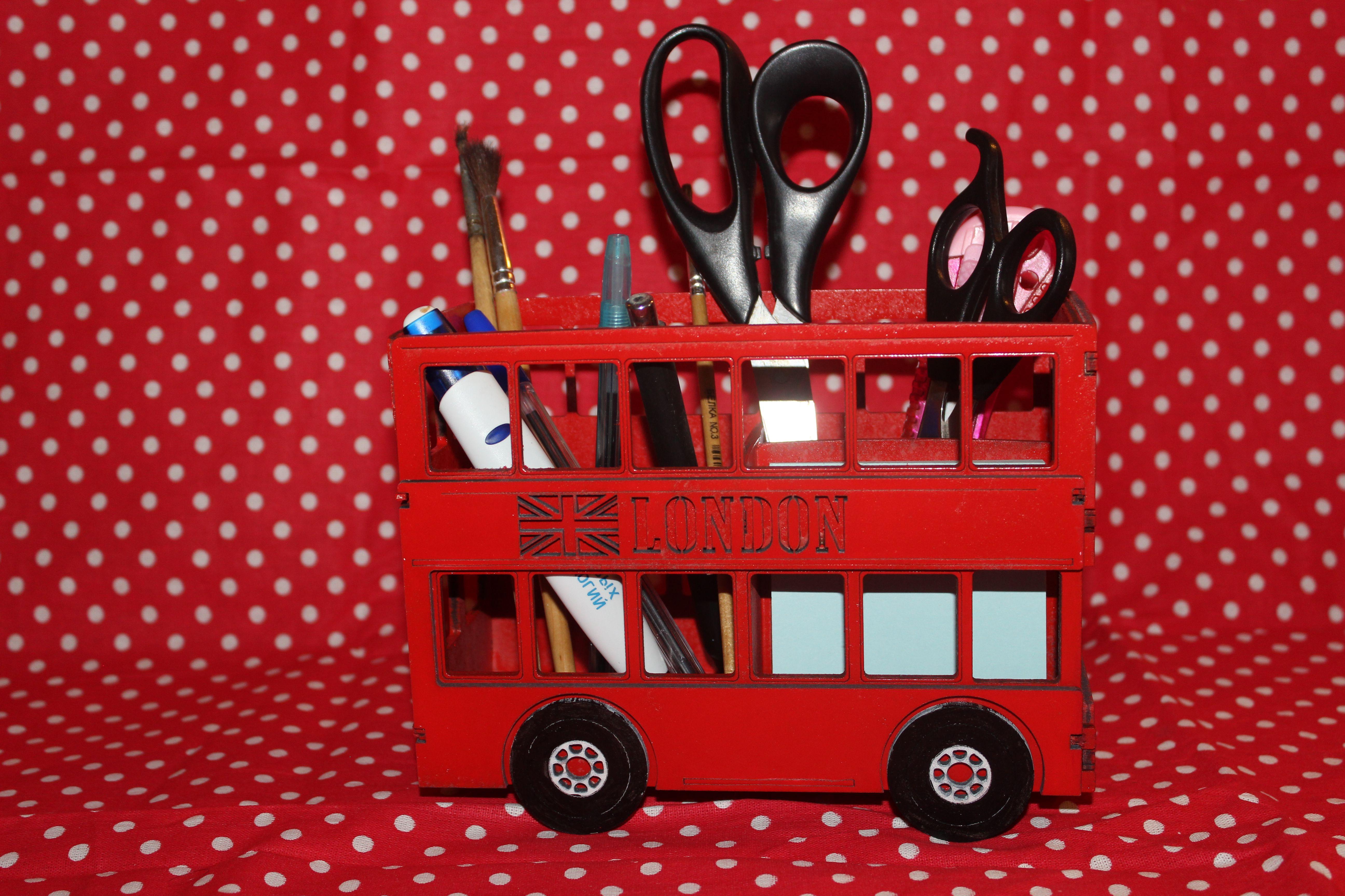 стакан фанеры английский изделия ручек школьникам автобус органайзер для стиль