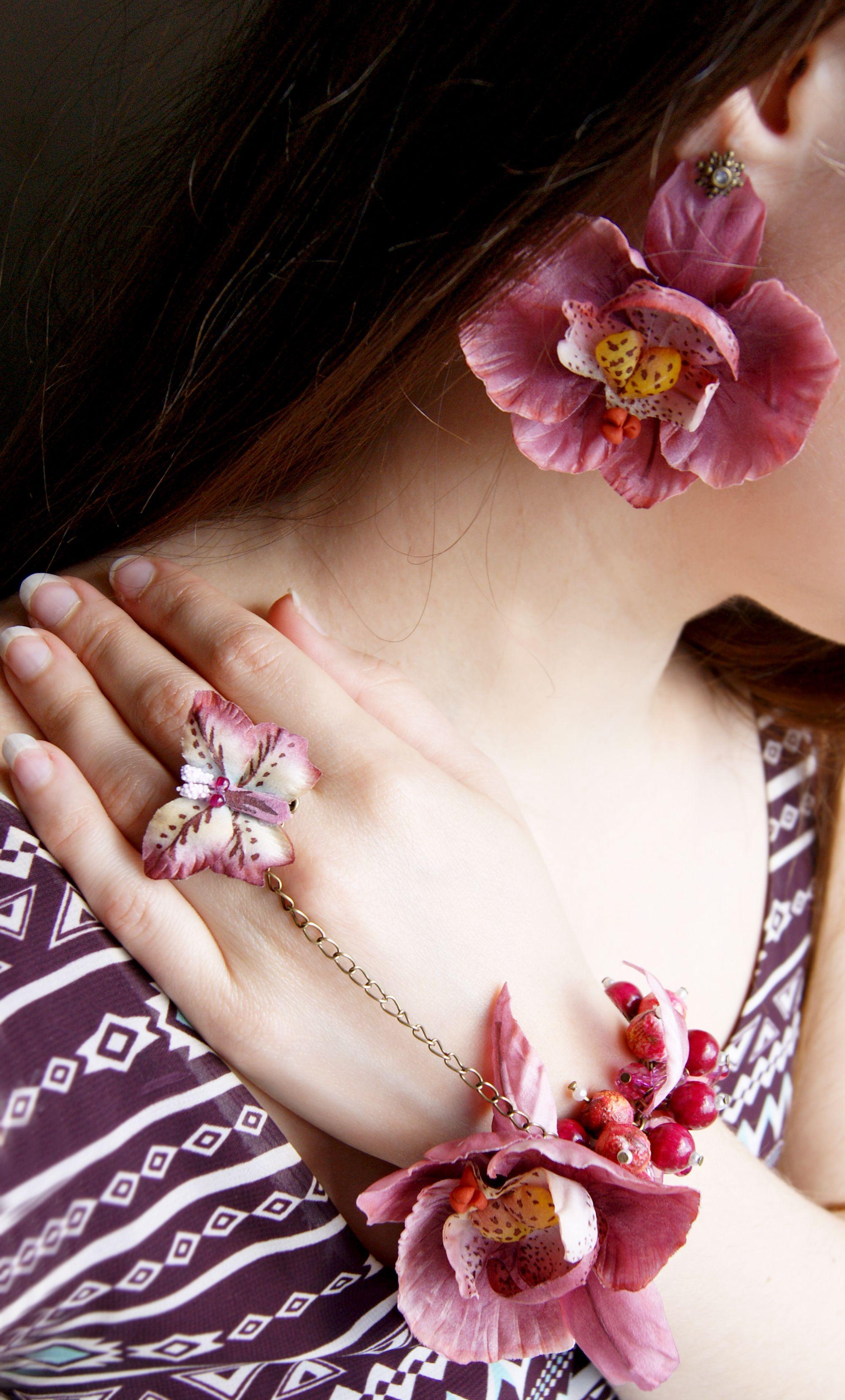 орхидеи аксессуарыручнойработы серьги аксессуары браслет цветыизшелка цветы