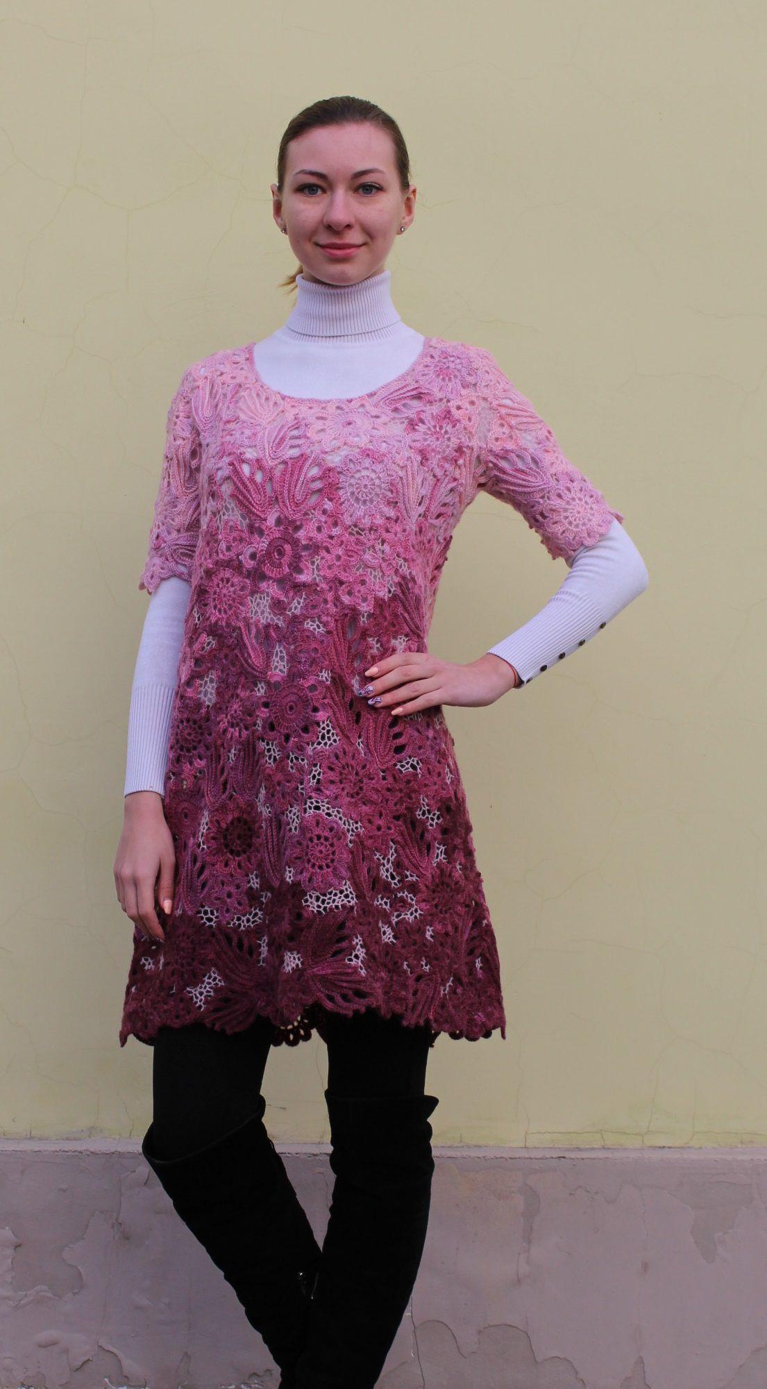 авторская вязание заказ на нарядное розовый теплая ирландское вязаное крючком сцепное кружево работа цветочный ручная ручное подарок платье ажурное одежда теплое