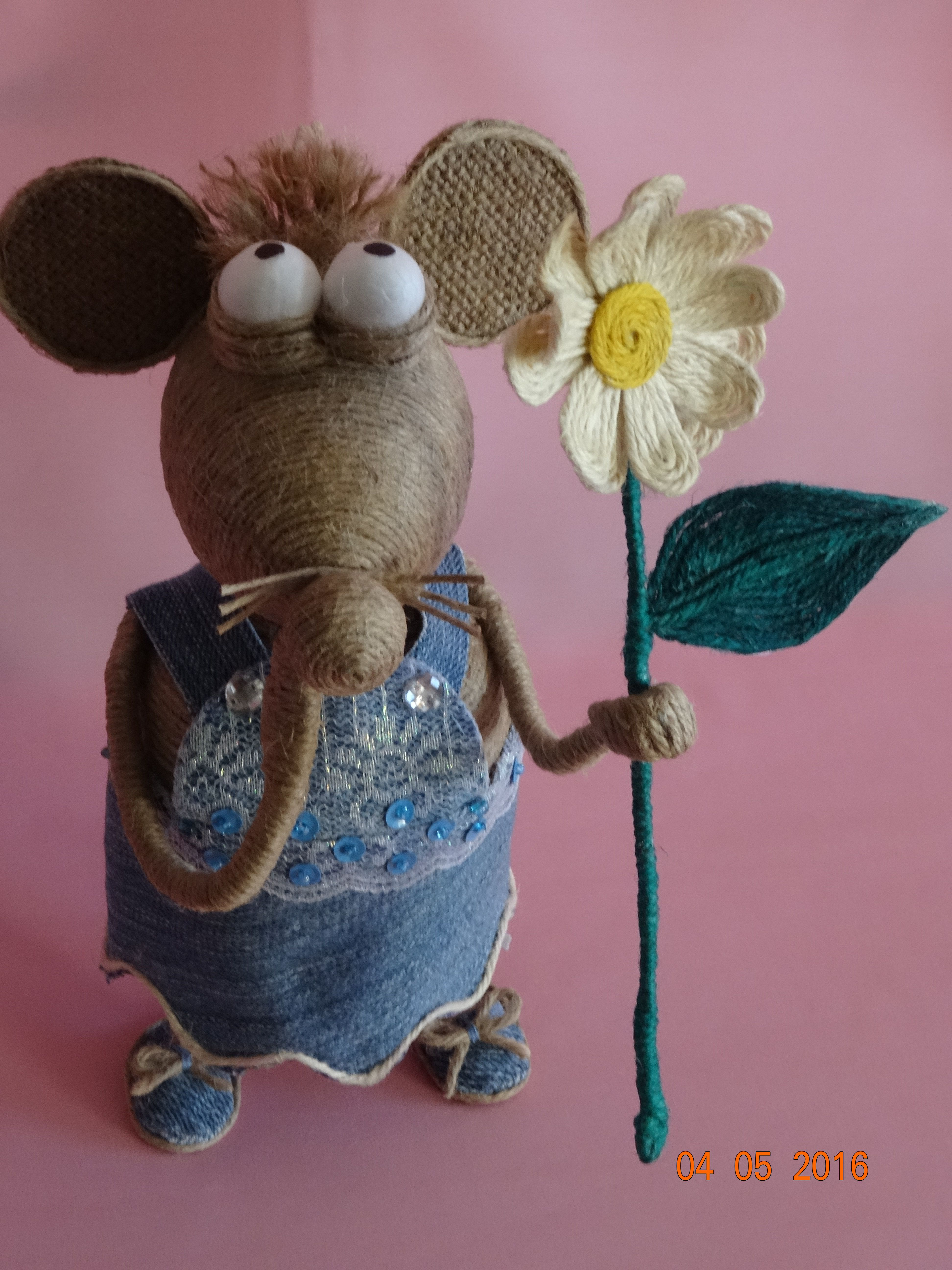 джутовый сувенир шпагат фигурка мышь