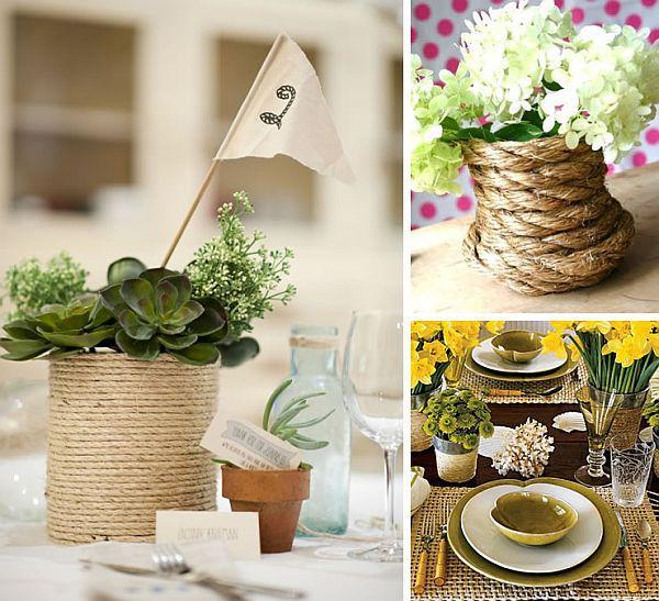 банки стола свадебного декора веревка оформления ваза для из руками своими