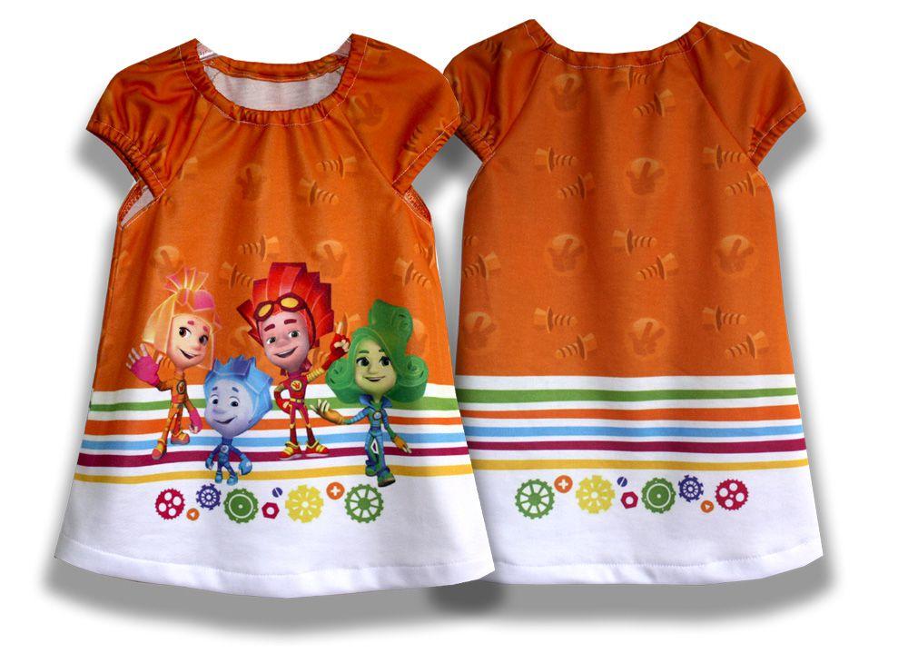 детское девочки удобное красивое трикотажное для летнее файер платье верта фикскики оранжевое сарафан симка нолик
