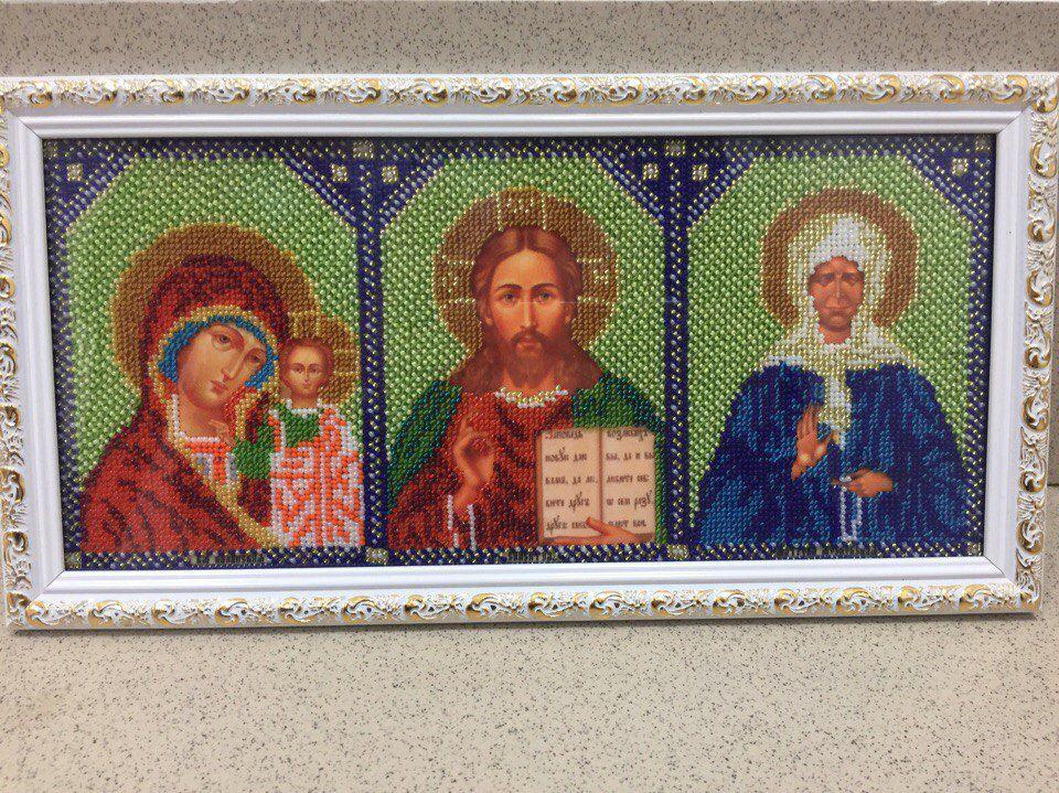 ручнаяработа подарок картина матрона бисертриптих вышивка икона иконабисером вышивкабисером иконы христос богородица