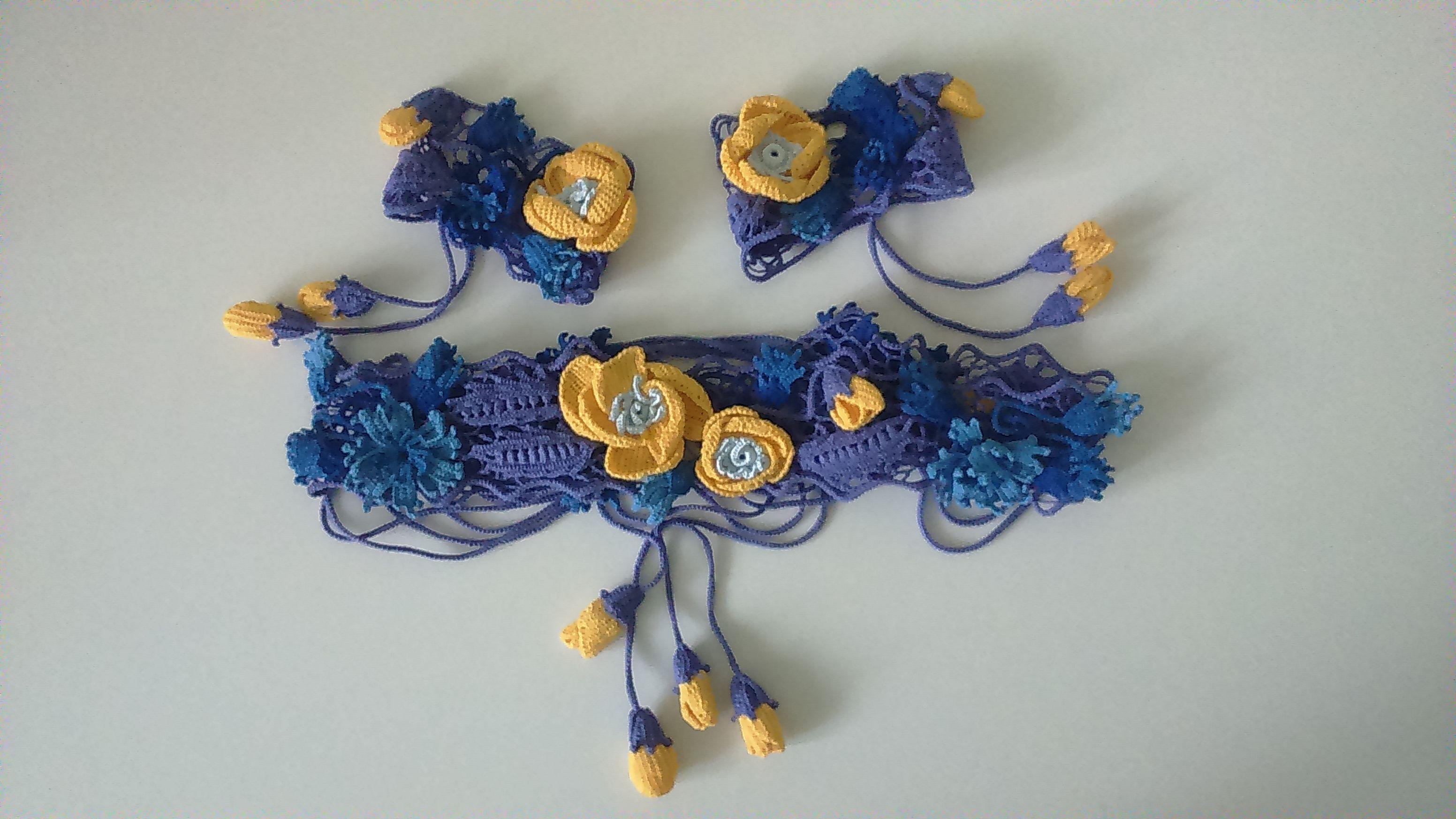 хлопок синий тунисскоевязание полевыецветы ирландское тунис желтыемаки кружева васильки желтый фиолетовый пояс цветы ирландскоекружево