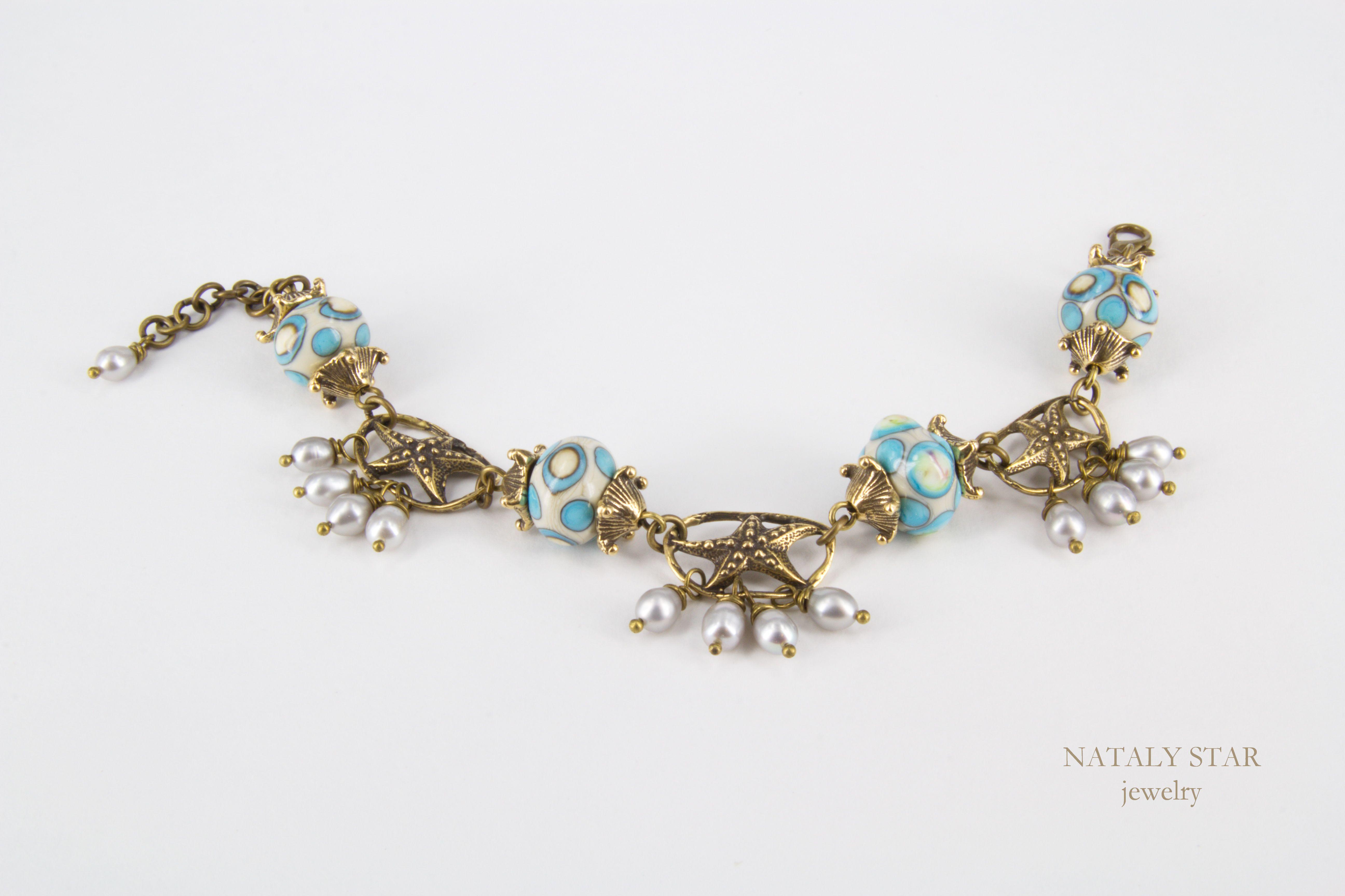 авторская подарок браслет жемчуг бусины украшение авторской речной латунная фурнитура лэмпворк