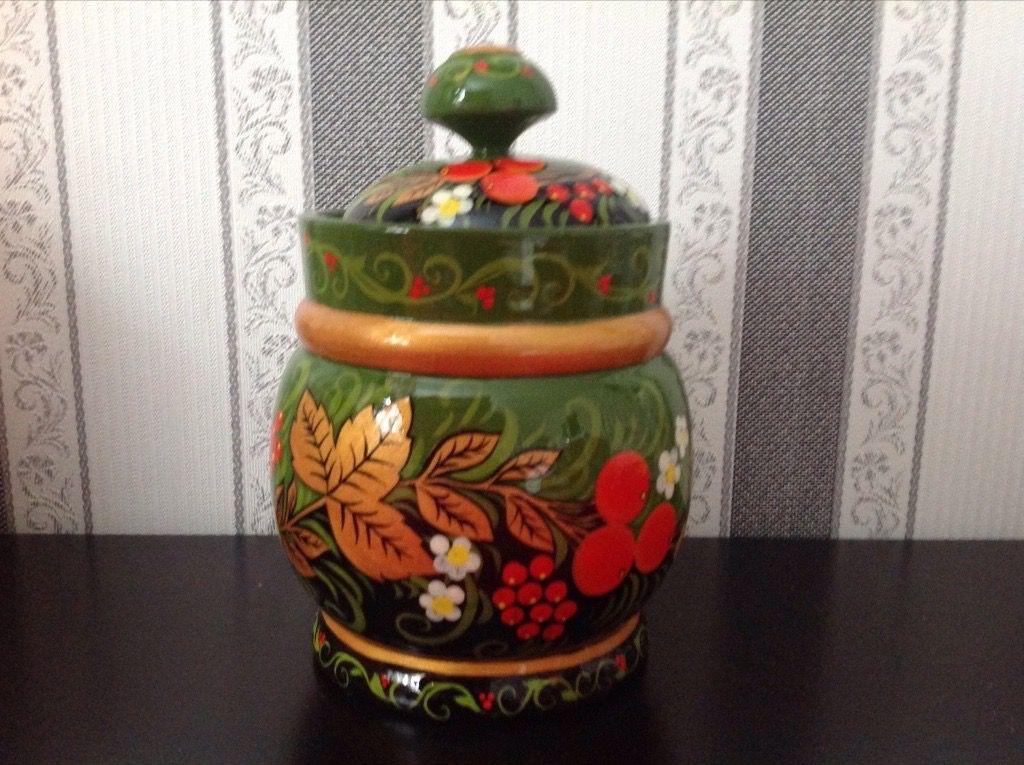 ручнаяроспись липа зелёный дерево кухня ручнаяработа русскийсувенир хохлома кувшин подарок