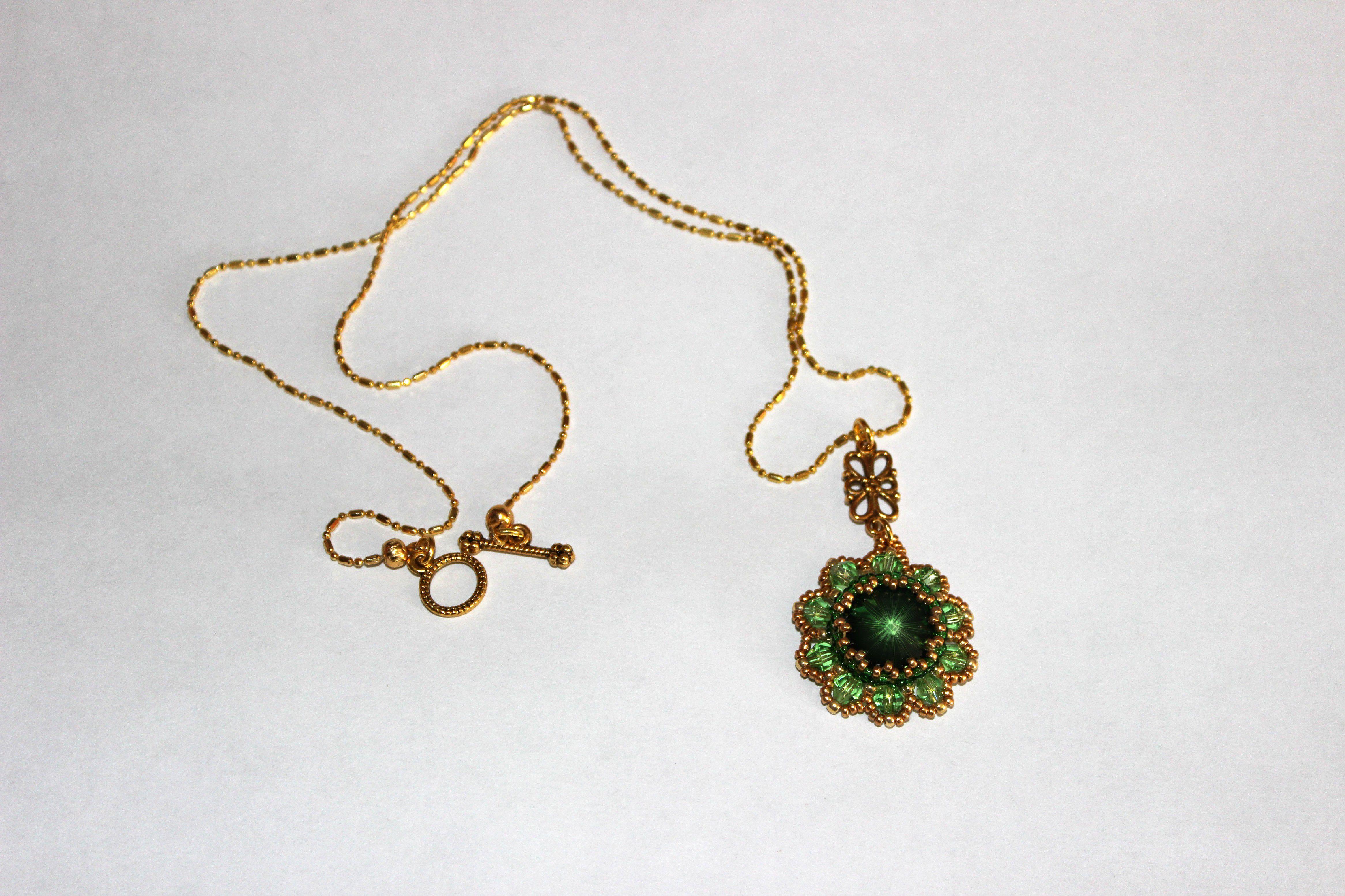 золотой бусины кристалл украшения бисер подвеска бижутерия бисероплетение сваровски кулон зеленый цветок