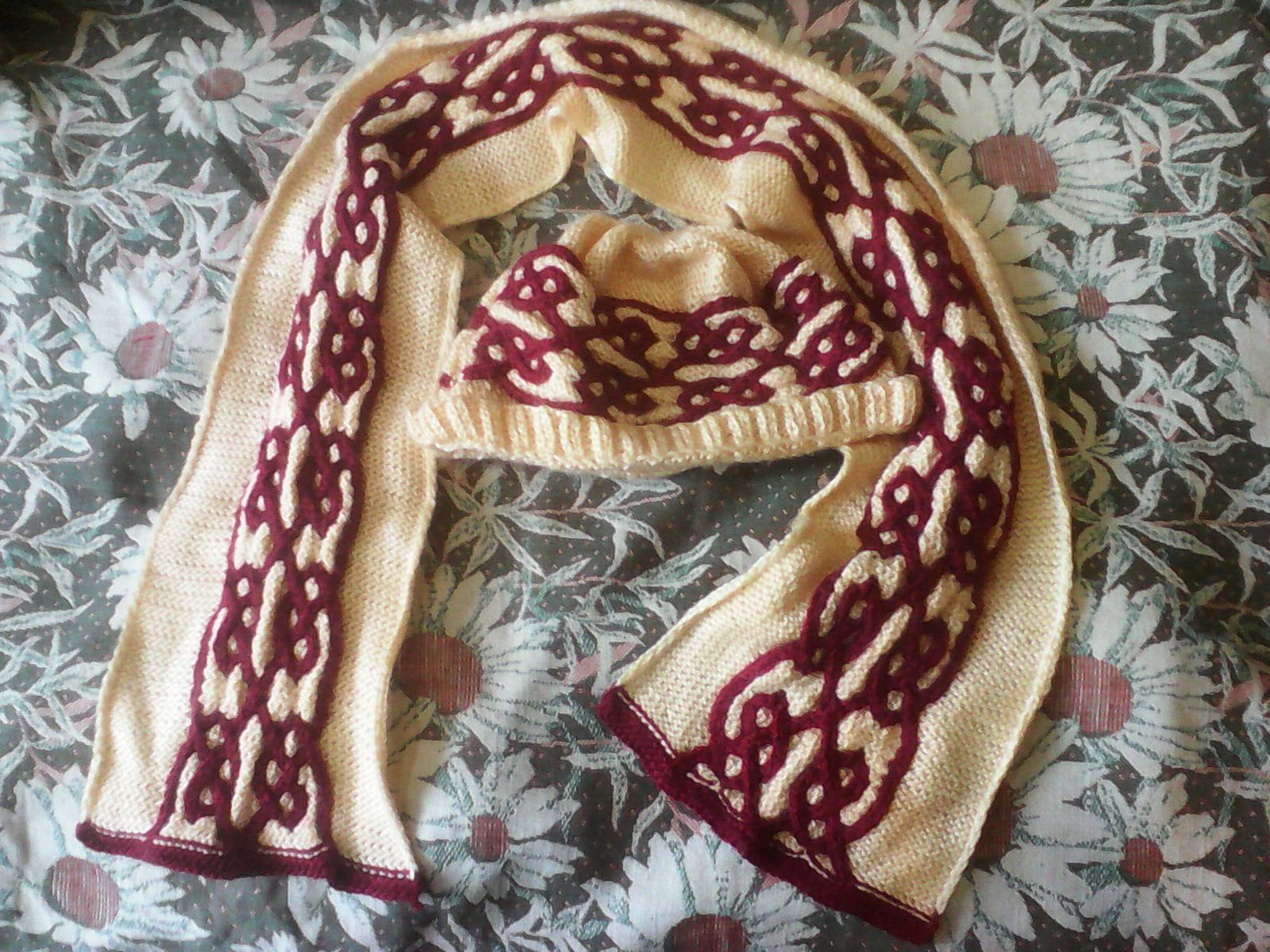 шарф вязание комплект шапочка акрил аксессуары