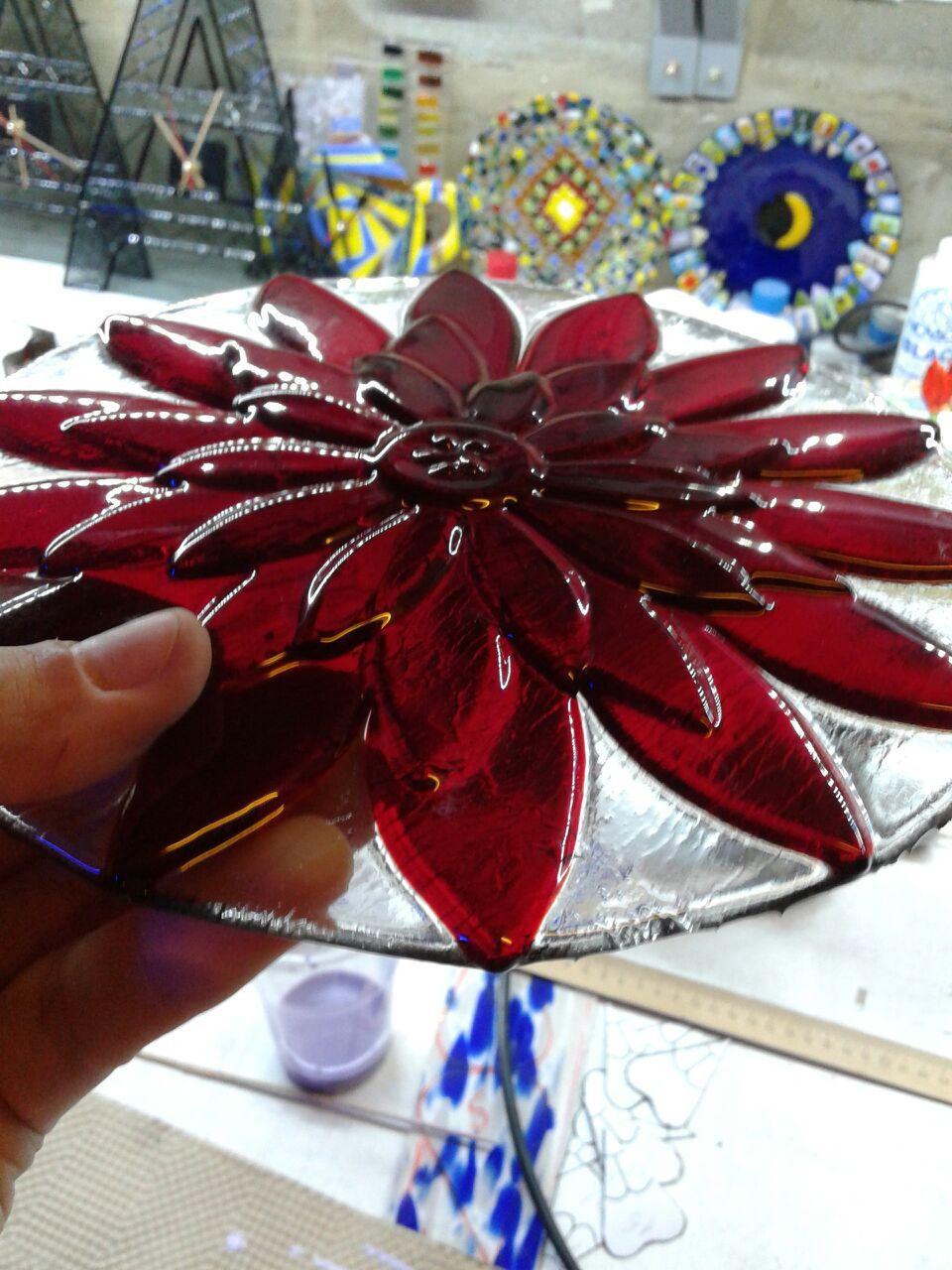 работа декор тарелка ручная посуда фьюзинг хризантема коллекция стекло
