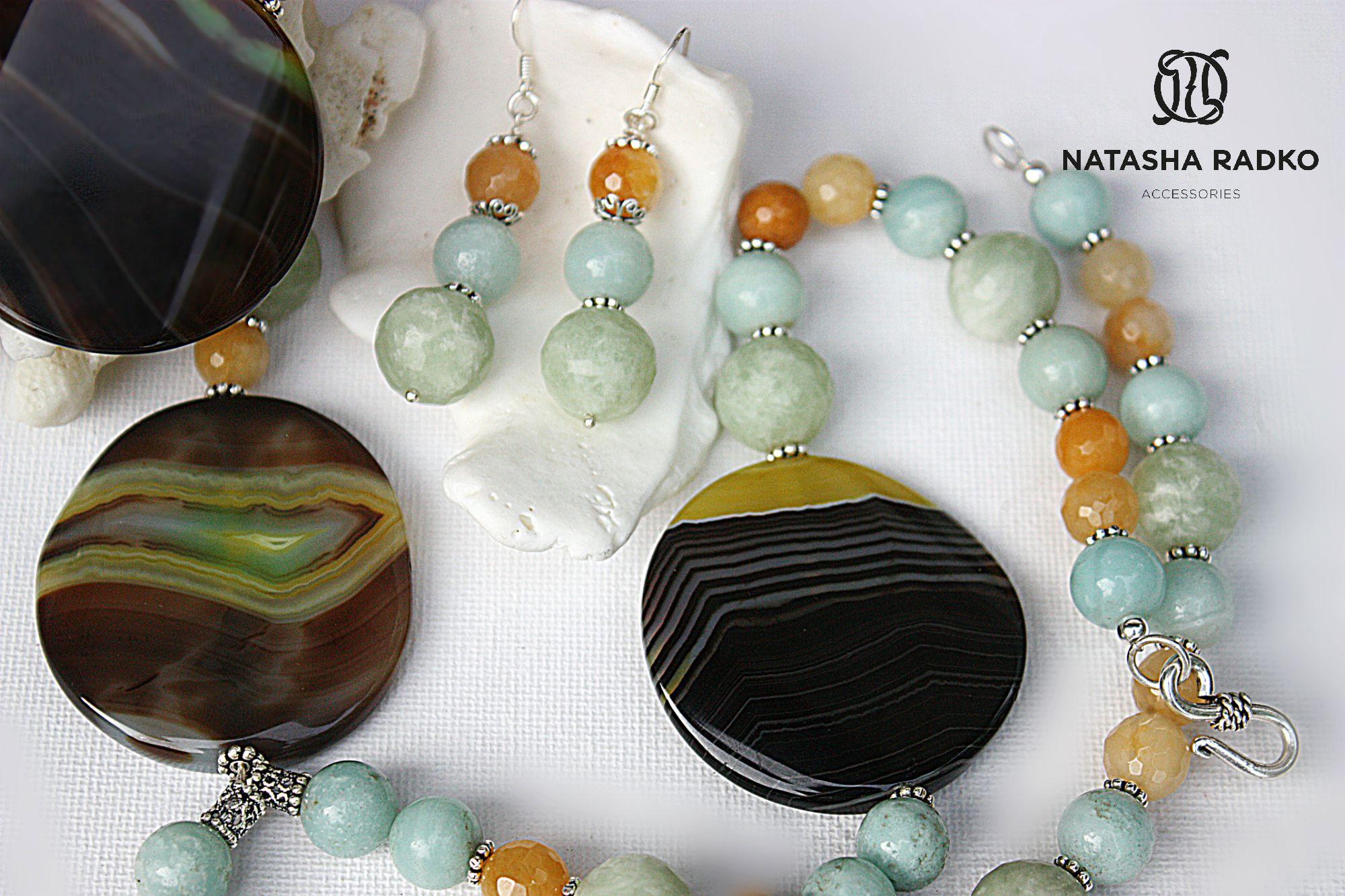 подарок агат украшение серебро набор камни амазонит натуральные