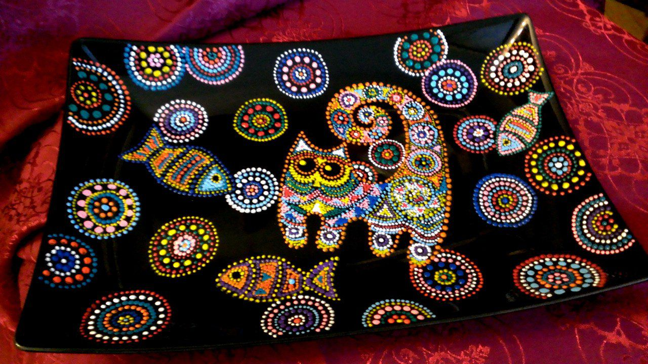 ручнаяработа подарок кошачийсон декоративнаятарелка декор точечнаяроспись тарелка handmade кошки