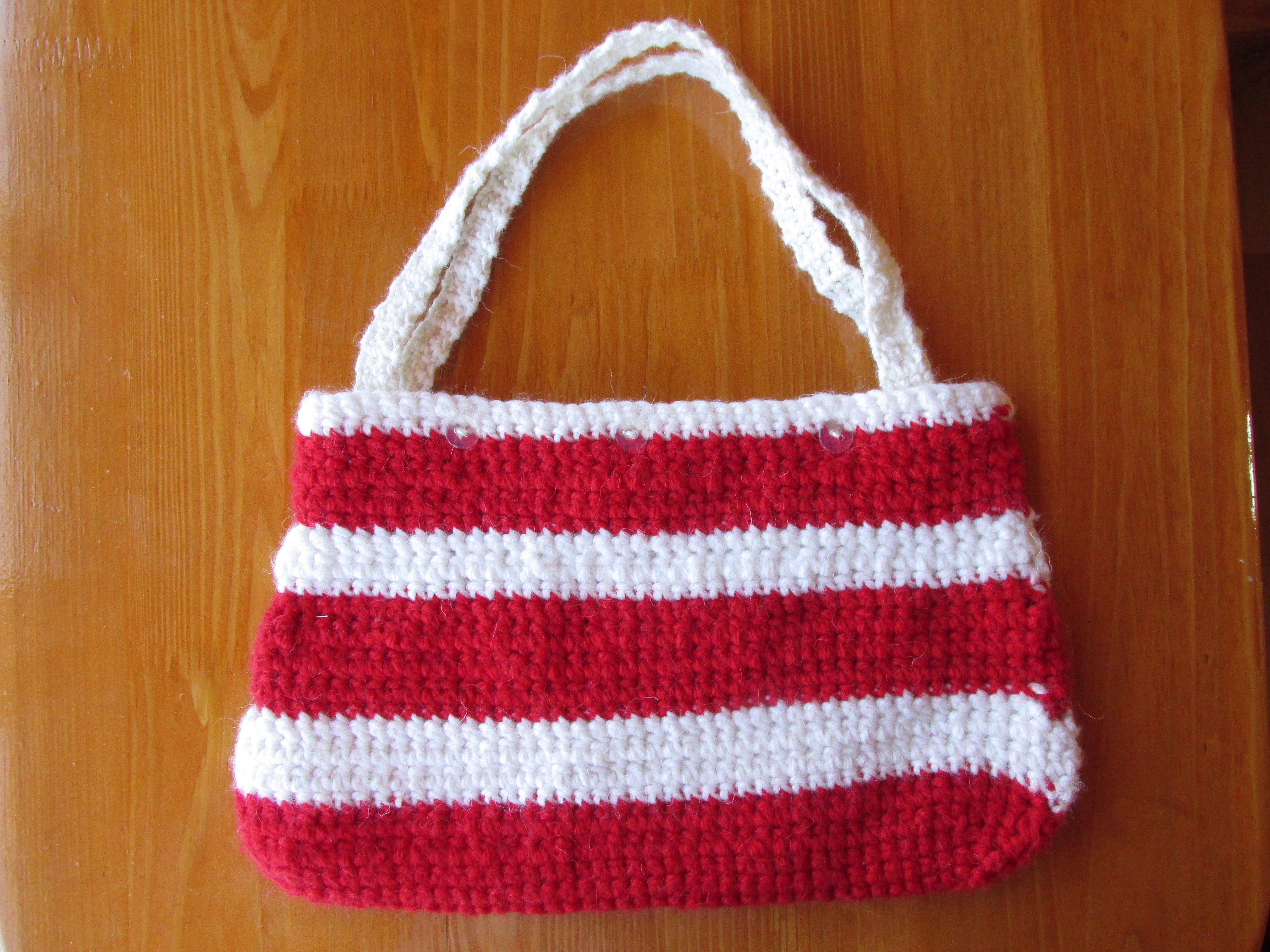 белое акрил женское сумка вязание крючком шерсть красное