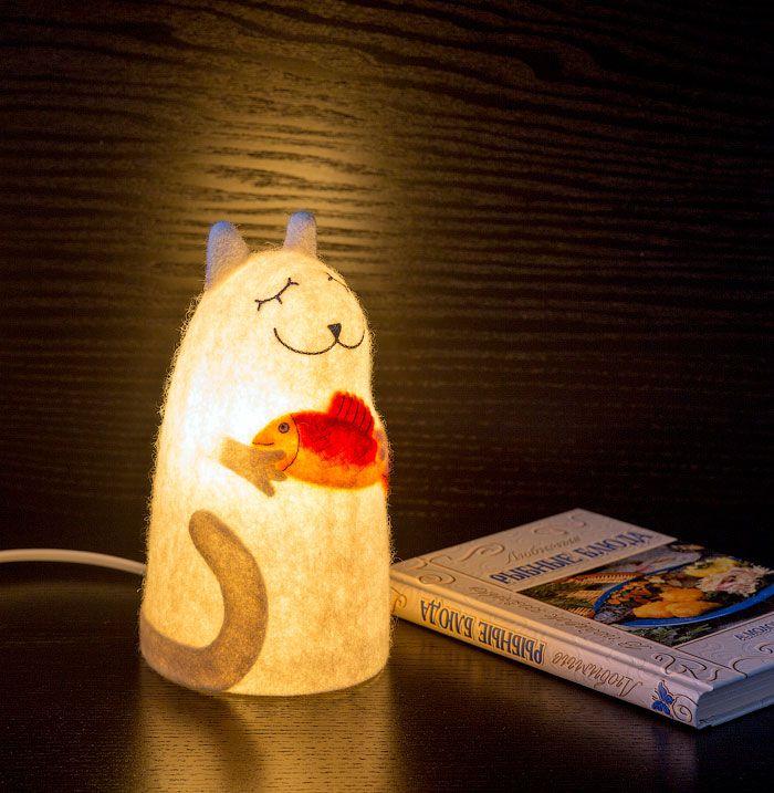 интерьера кот кошка авторский дизайн белый светильник красный подарок рыба