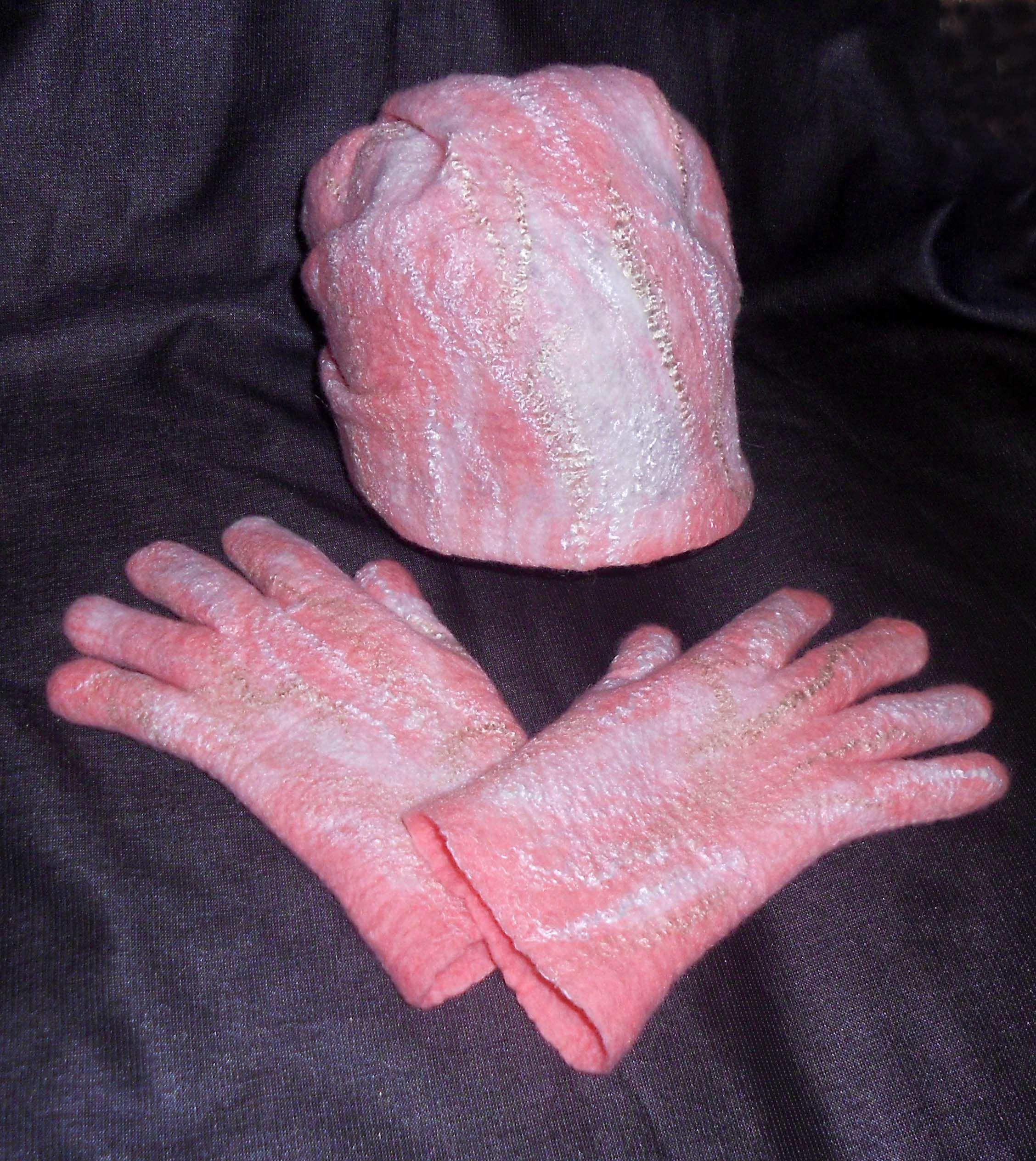 handmade комплект шапка перчатки шерсть валяные аксессуары