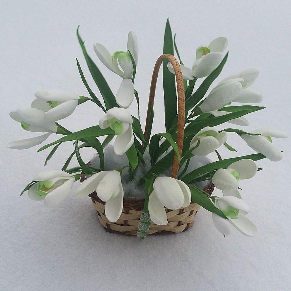 подарок работа хэнжмэйд ручная подснежники корзинка цветы