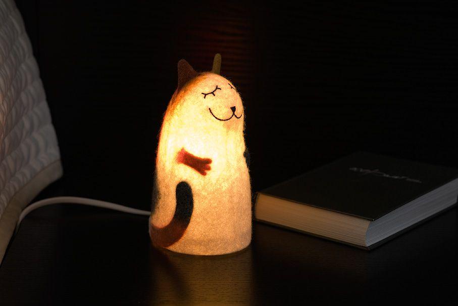 войлочный войлок интерьер ночник светильник кошка кот трехцветный