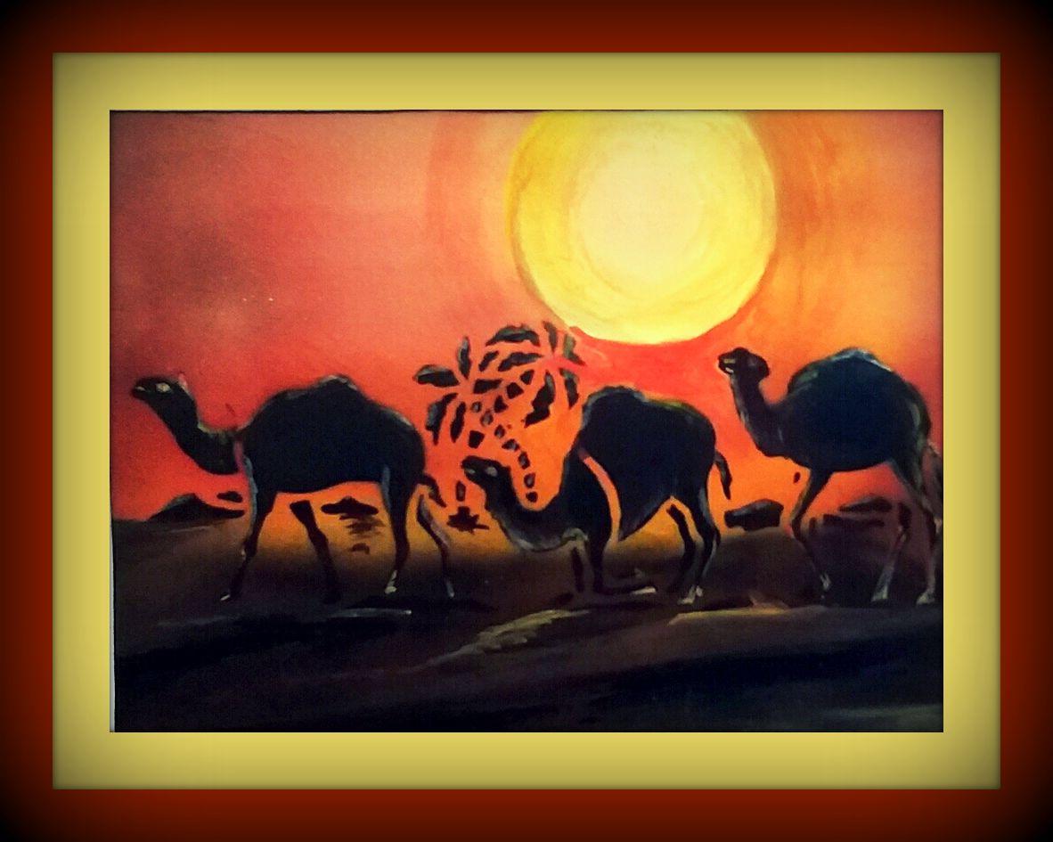 солнце аэрография пустыня бархан верблюды караван аэрограф