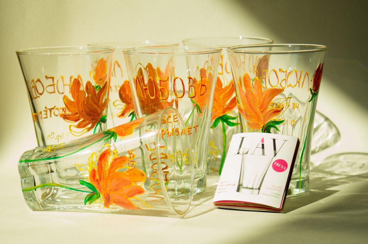 витраж стекло цветы керамика стаканы текст