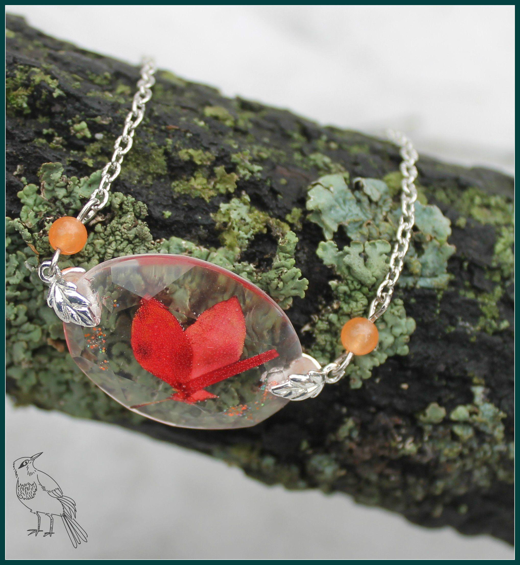 кулон бабочка бижутерия ювелирнаясмола сухоцветы девушке украшения цветы подарок
