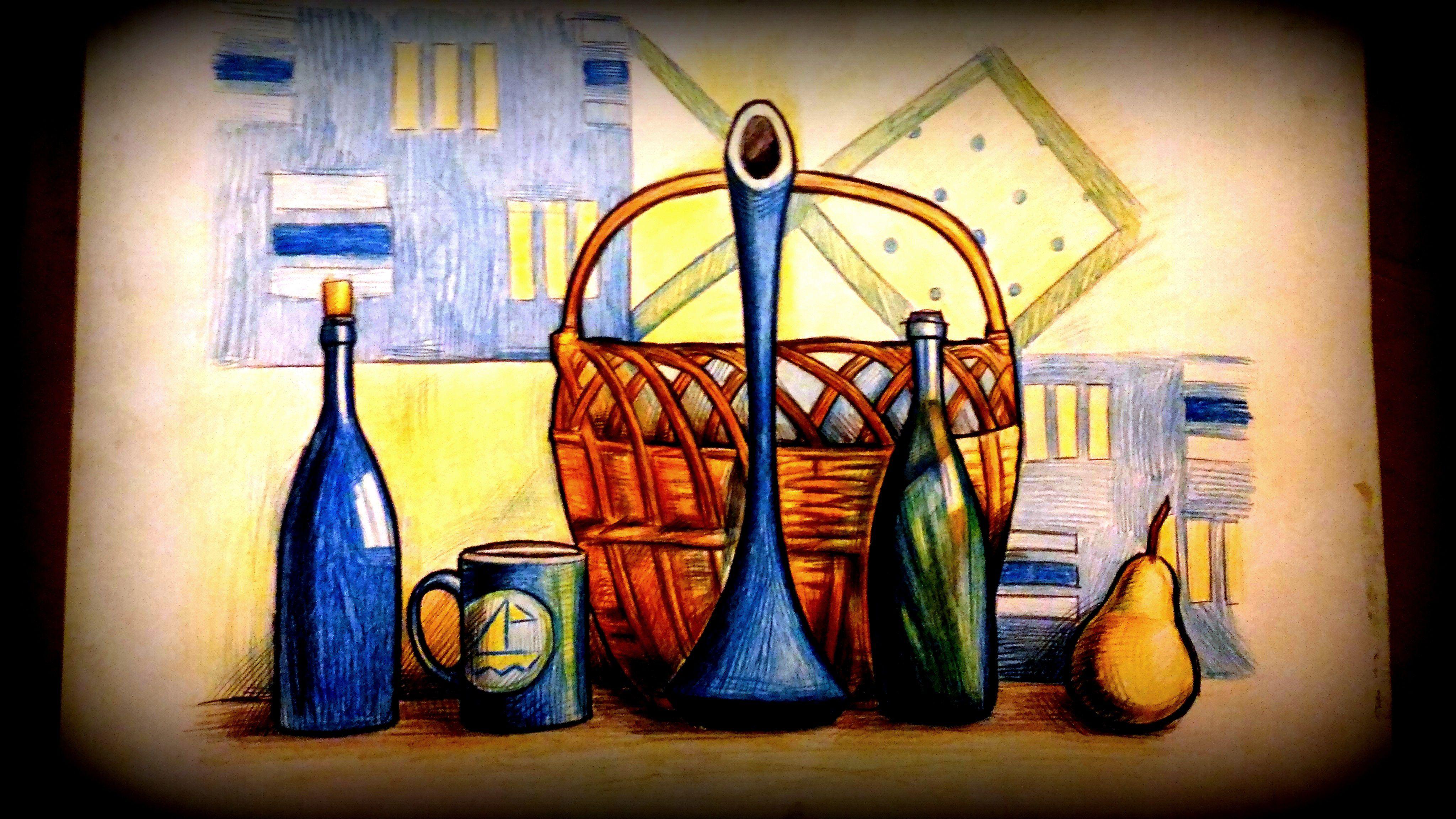 интерьера натюрморт цветные картины графика карандаши оформление живопись совреммная стекло