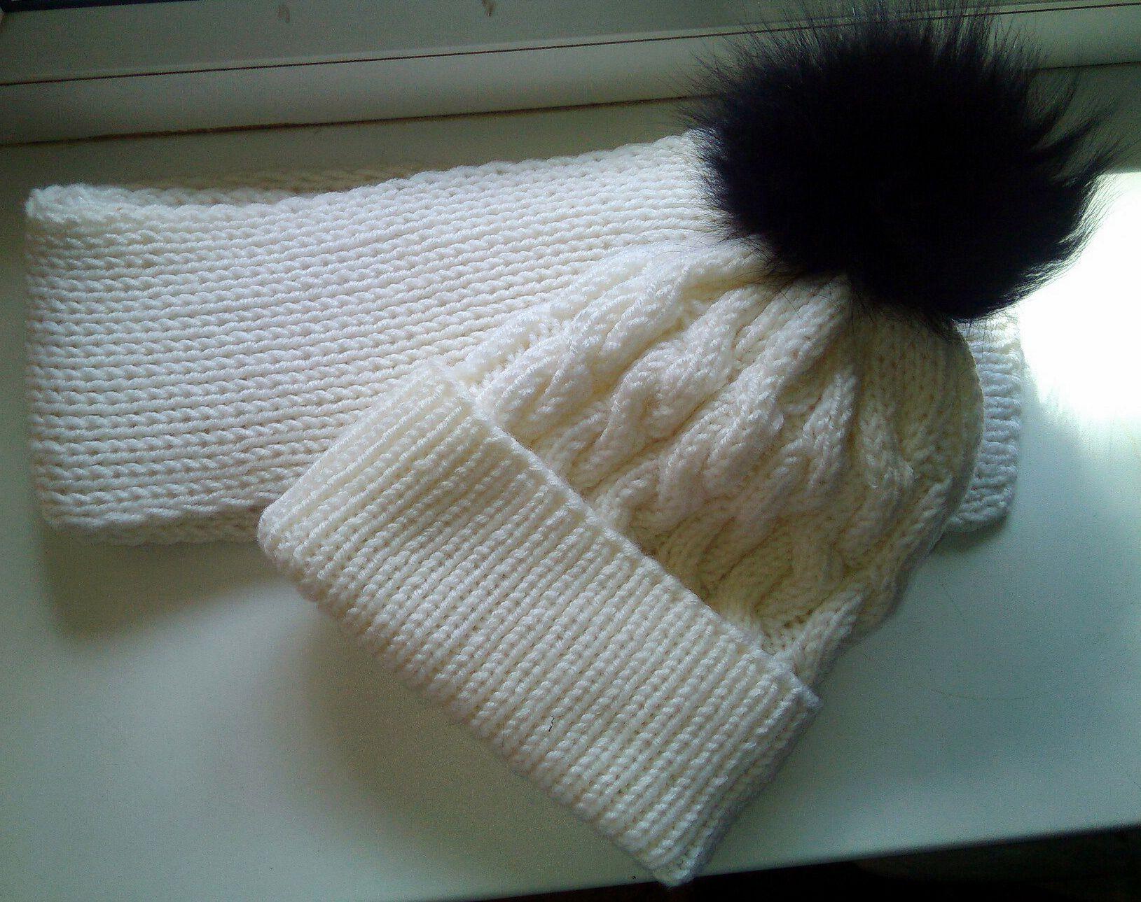 зимняя шарф белый шапка зимний комплект мех