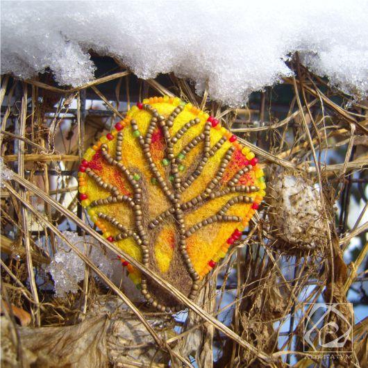 осень дерево брошь валяниеизшерсти сухоеваляние осеннее