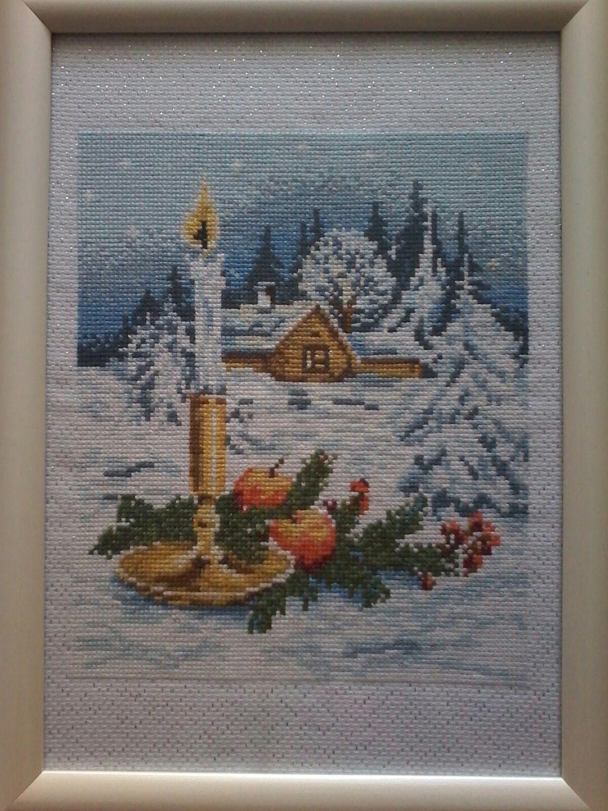 снег свеча рождество домики зима