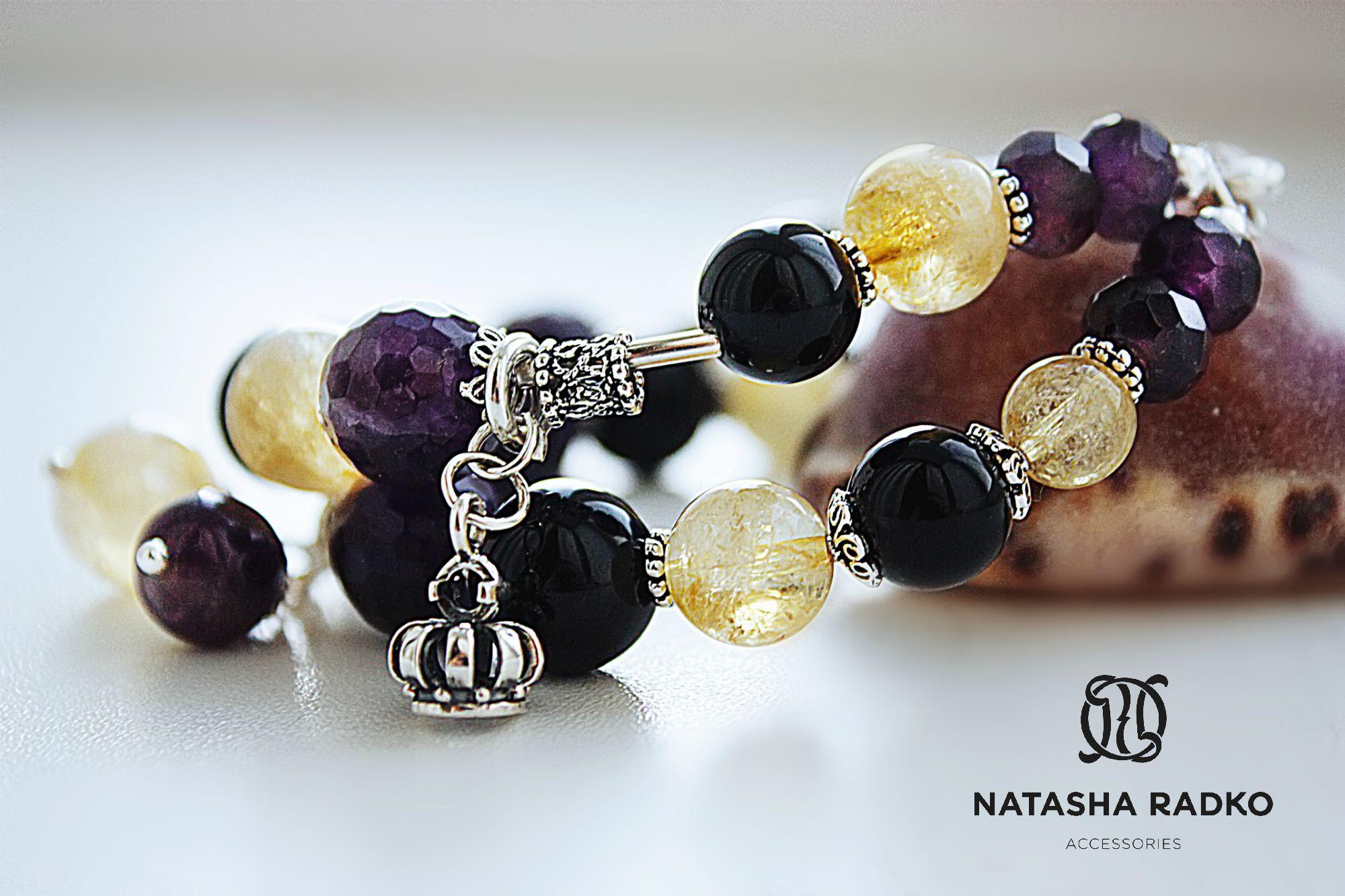 цитрин женскиецацки украшения агат аметист браслеты красиво