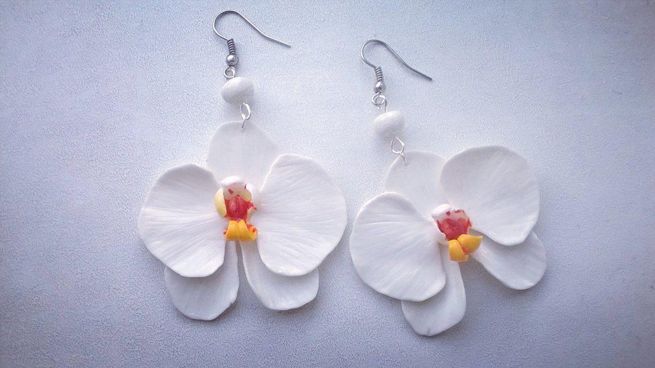 орхидея серьги полимерная глина полимернаяглина пластика бижутерия украшение цветы