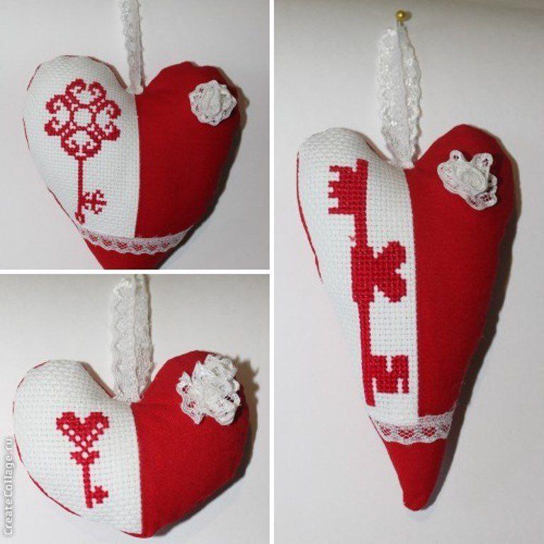 подарок подвески вышивка сердечки крестиком