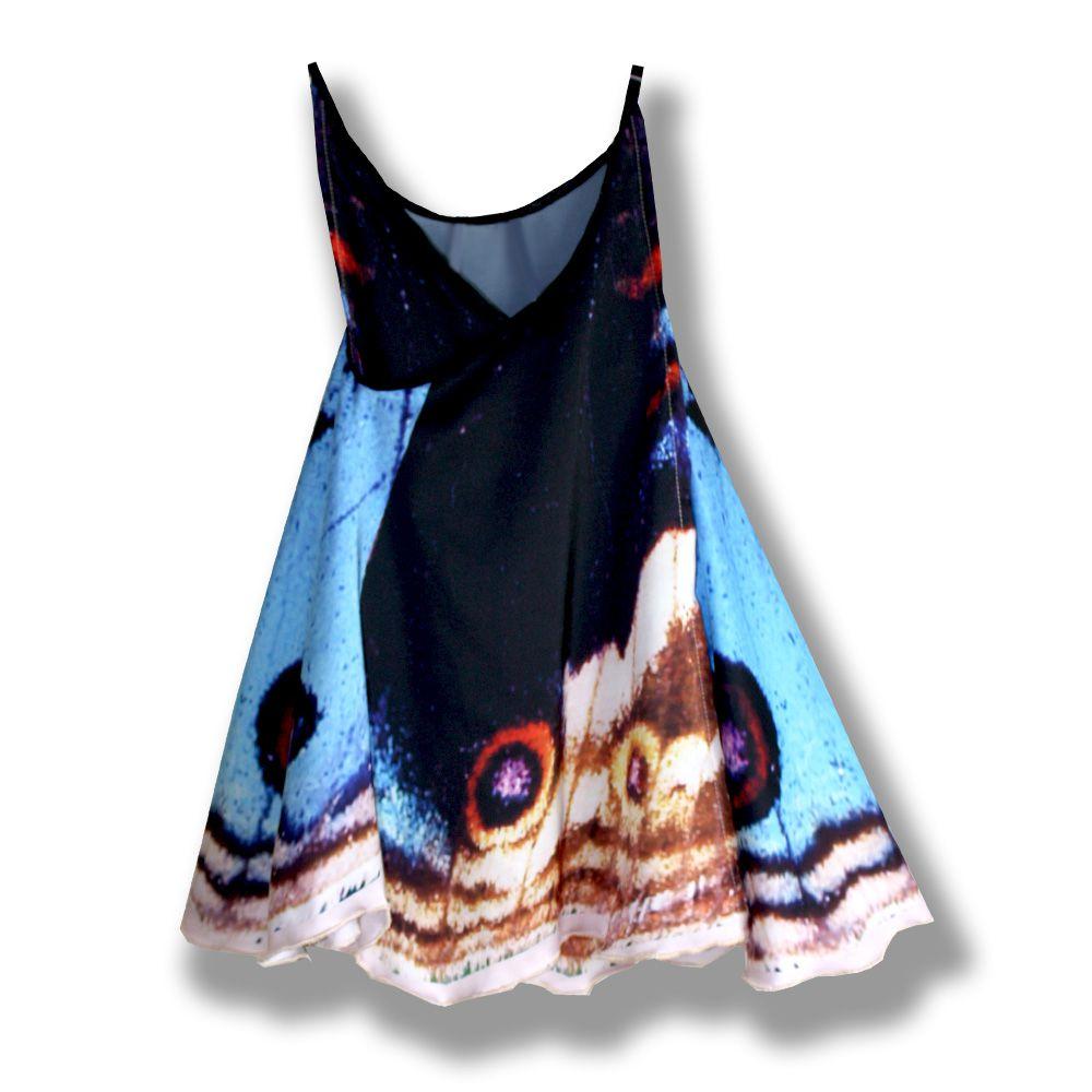 фотопринт сублимация крылья запах сарафан легкое летнее косоклинный креативный шелковый девочке принт бабочка одежда детская ручная платья девочкам креатив детские детям продажа купить работа голубой черный платье