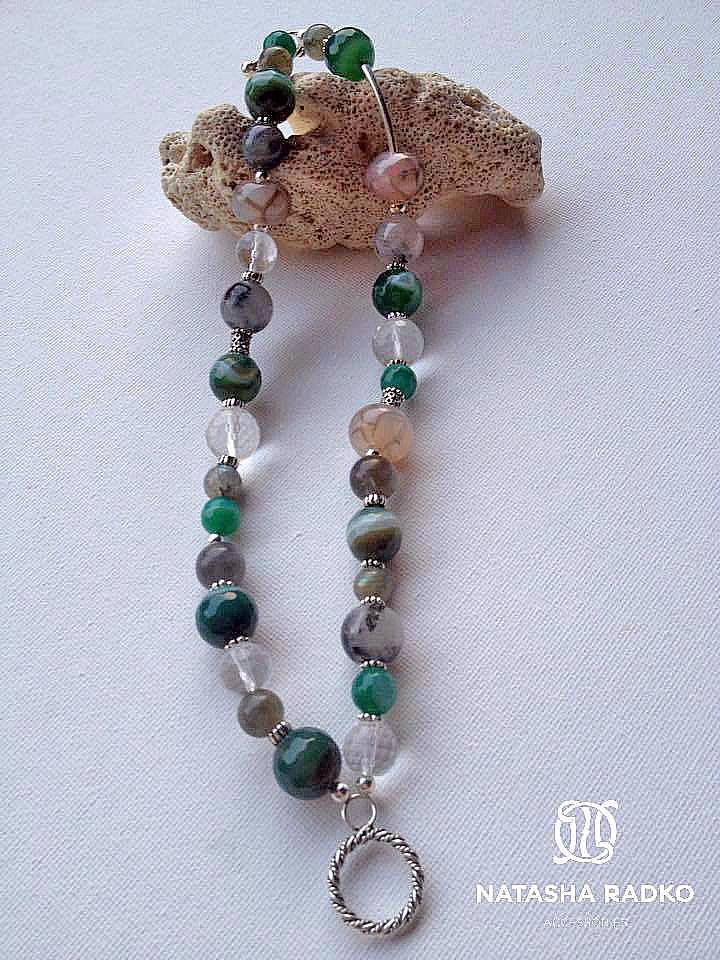 подарок браслет агат кварц украшение серебро камни лабрадор натуральные
