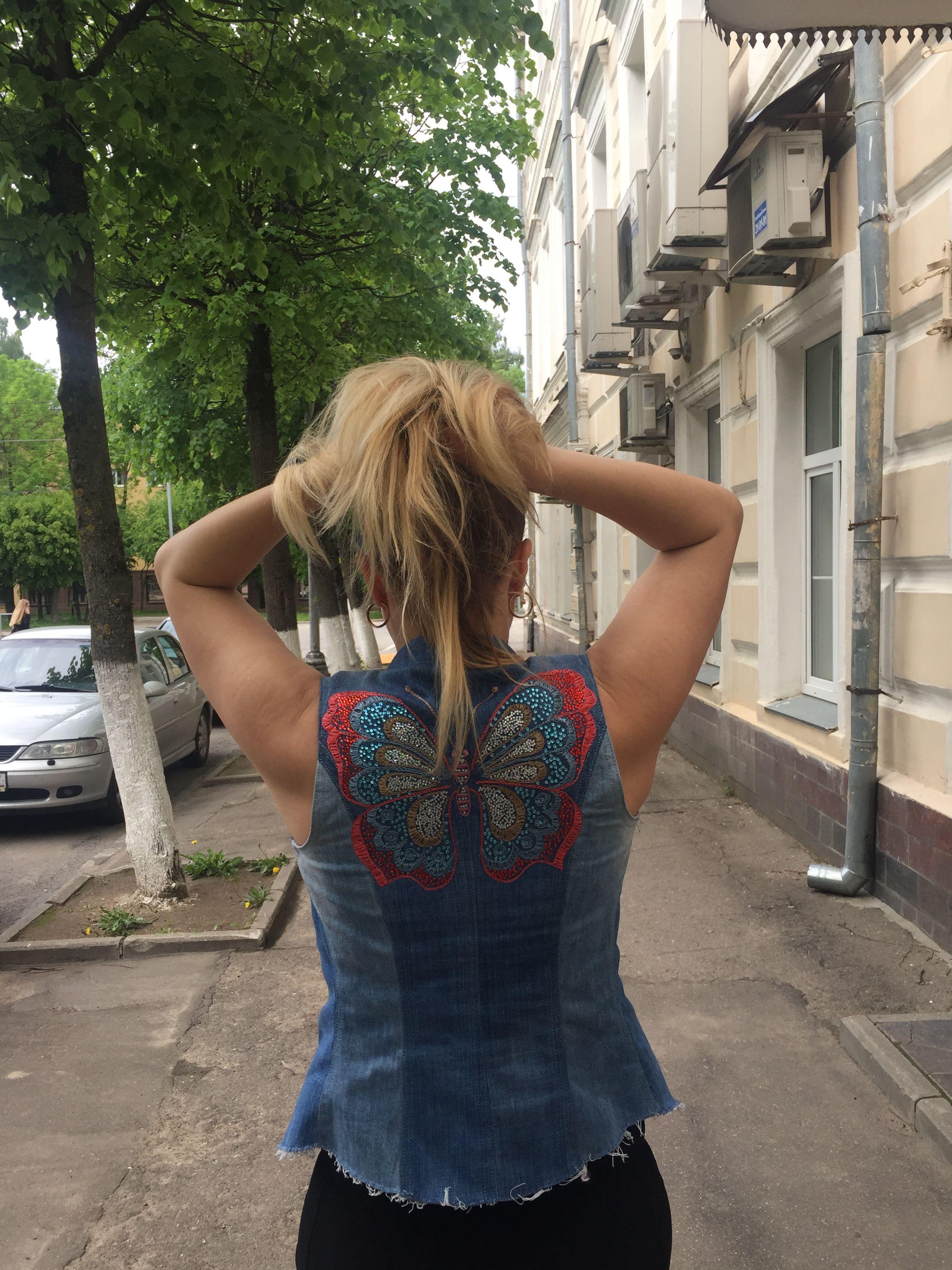 одежда красота заказать бабочка грация стразы девушка джинсы купить шёлк стиль сшить жилет мода