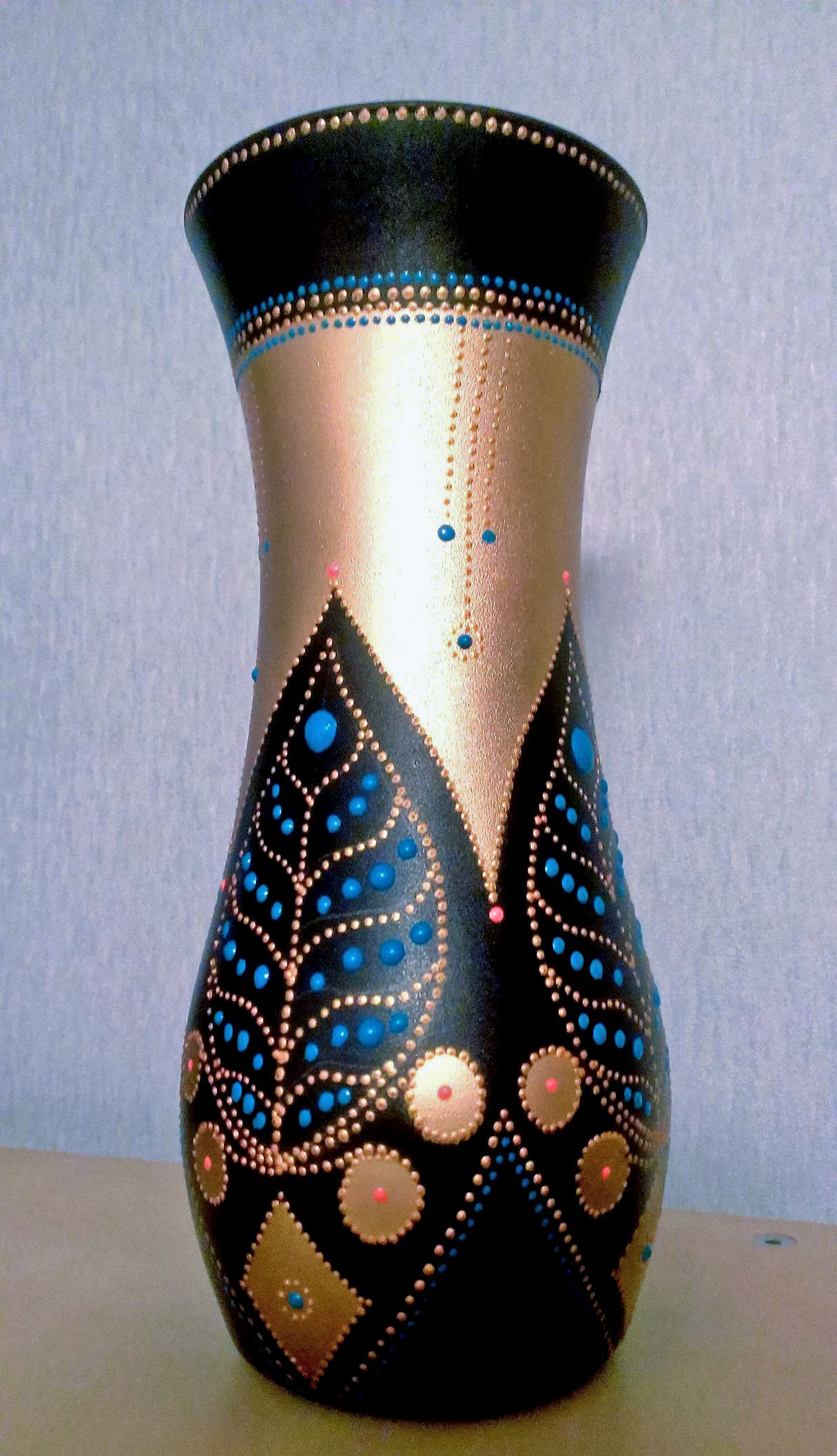 ручнаяработа подарок декор точечнаяроспись ваза handmade узоры медовыйсад декоративнаяваза цветы