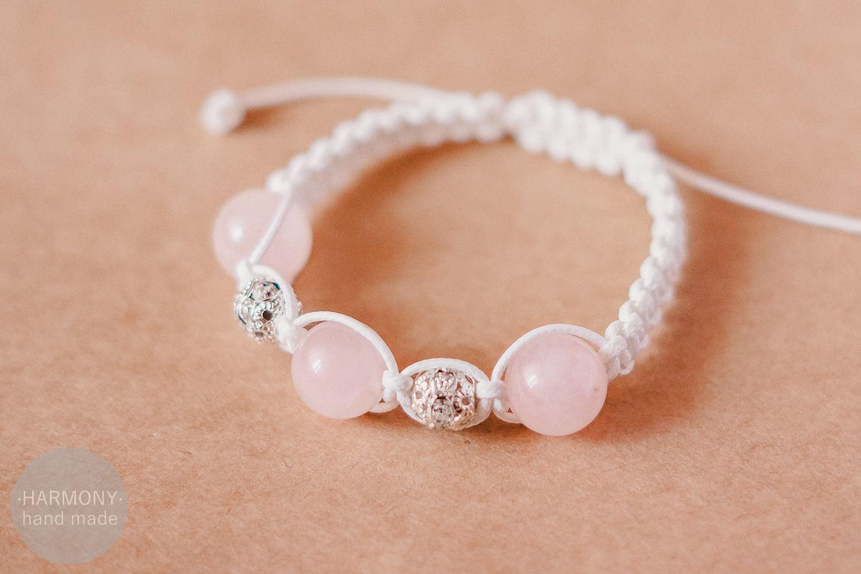 браслет кварц розовый шамбала натуральныекамни украшения бижутерия