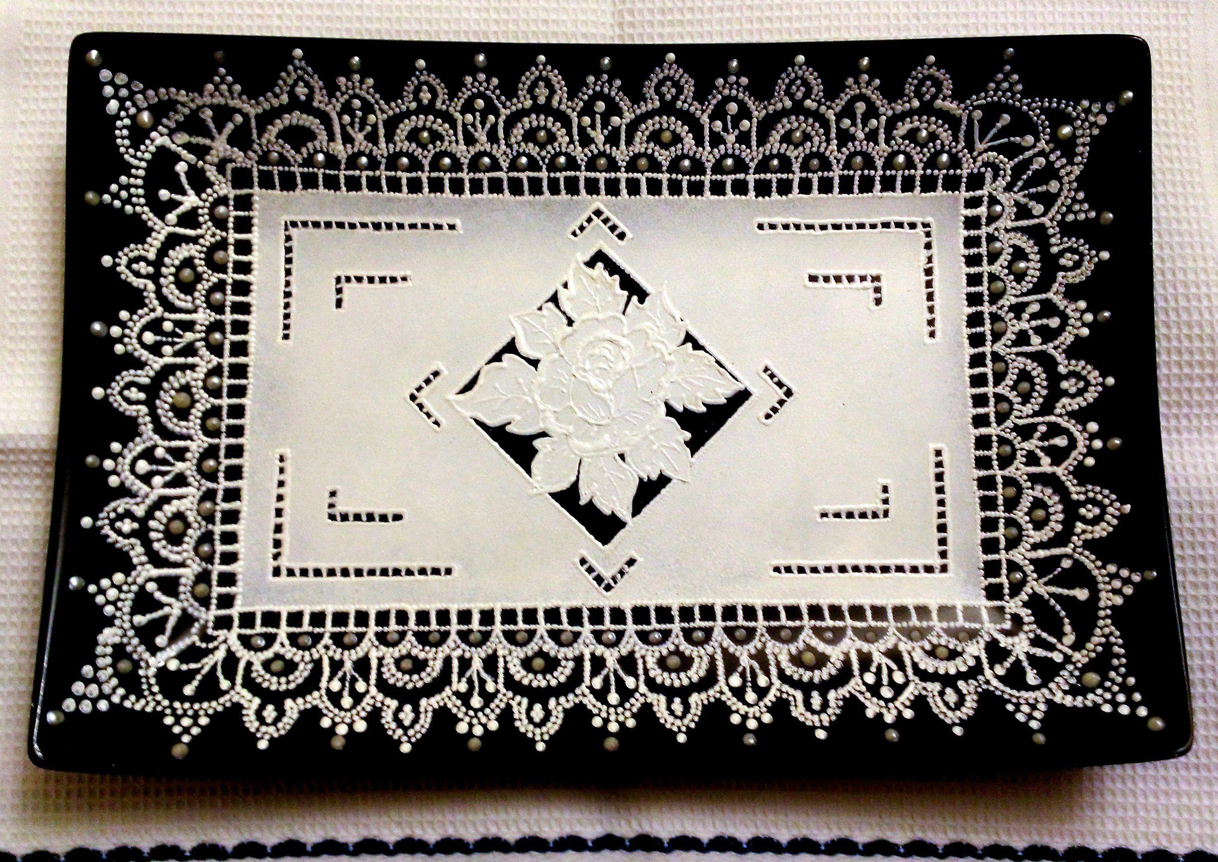 декоративнаятарелка тарелка точечнаяроспись handmade декор кружево ручнаяработа подарок