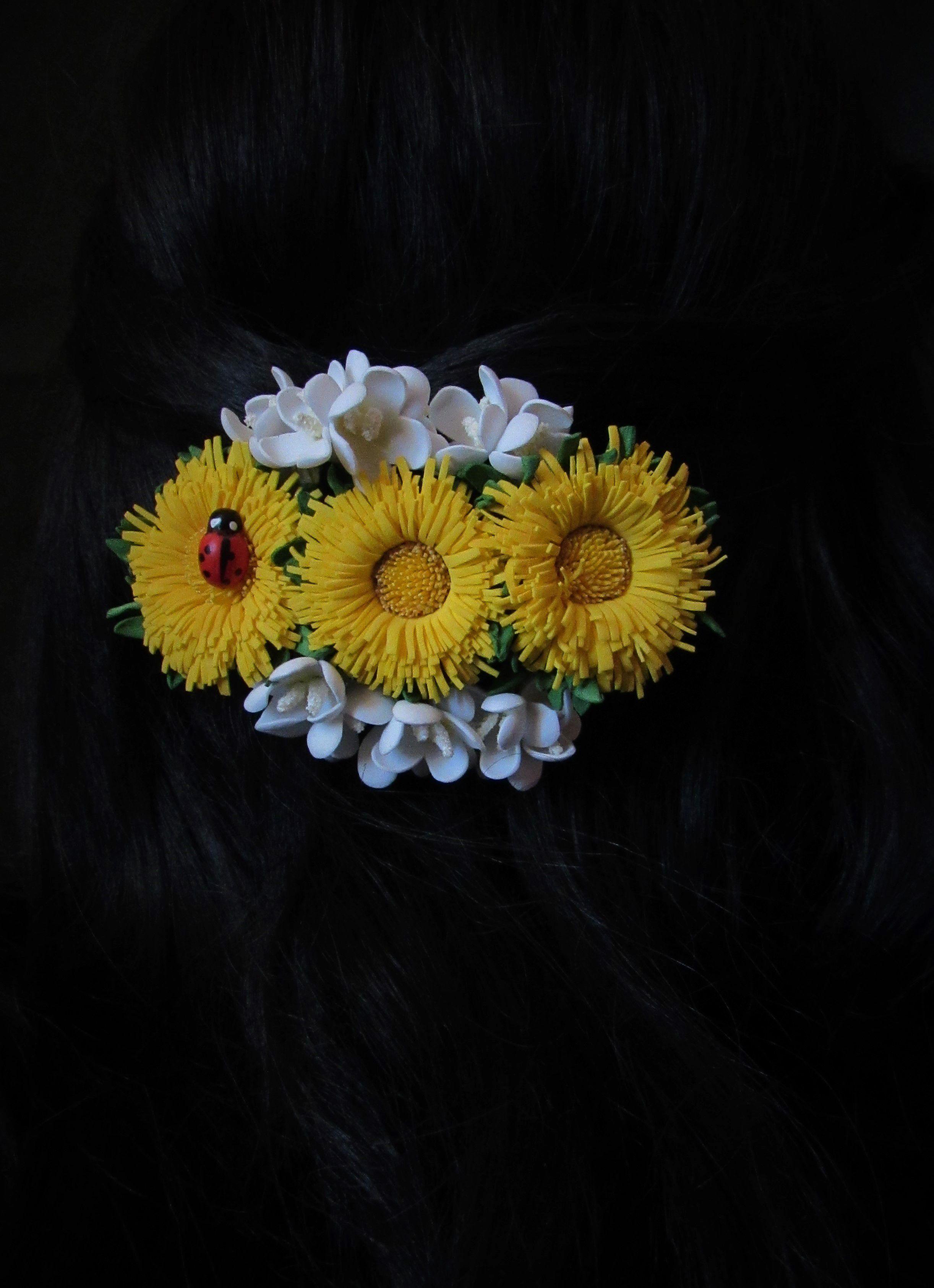из фоамирана заколка одуванчики цветы