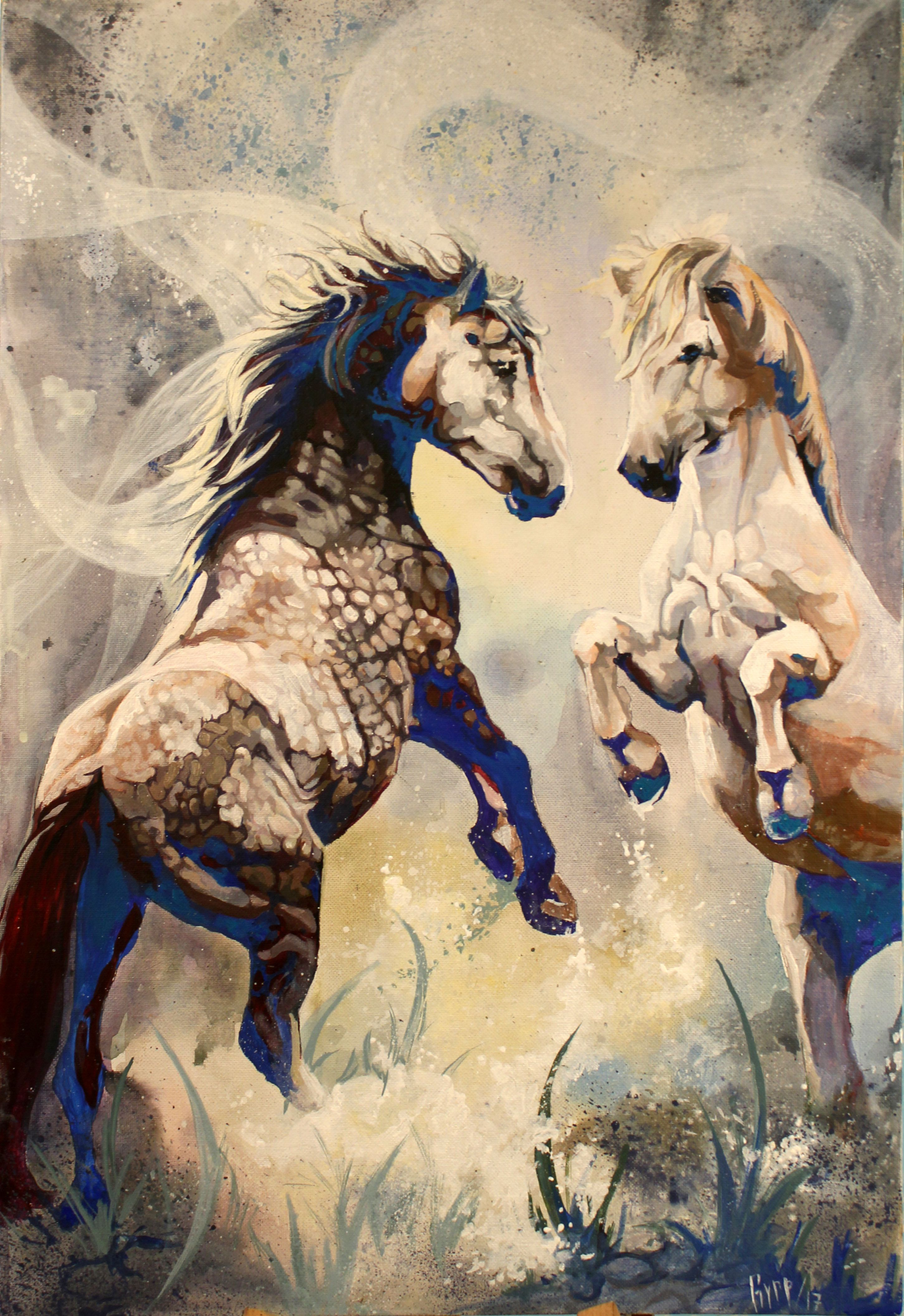 лошади радость облака ветер движение фантазия конь сказка космос подарок мечты