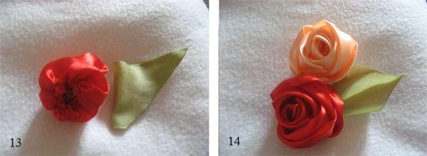 Розы из атласных лент мастер класс 4