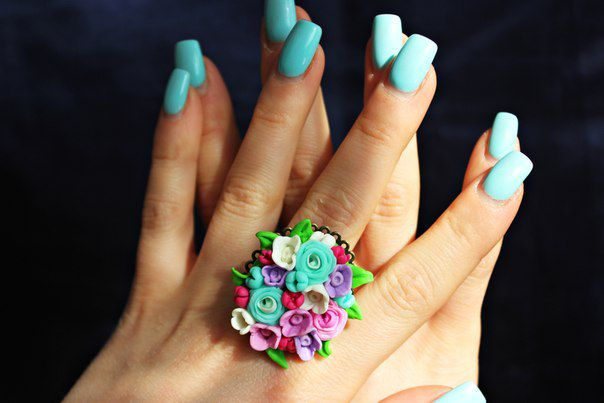 нежно невидимки кольца мятное украшение ручная заколки кольцо работа лето ярко
