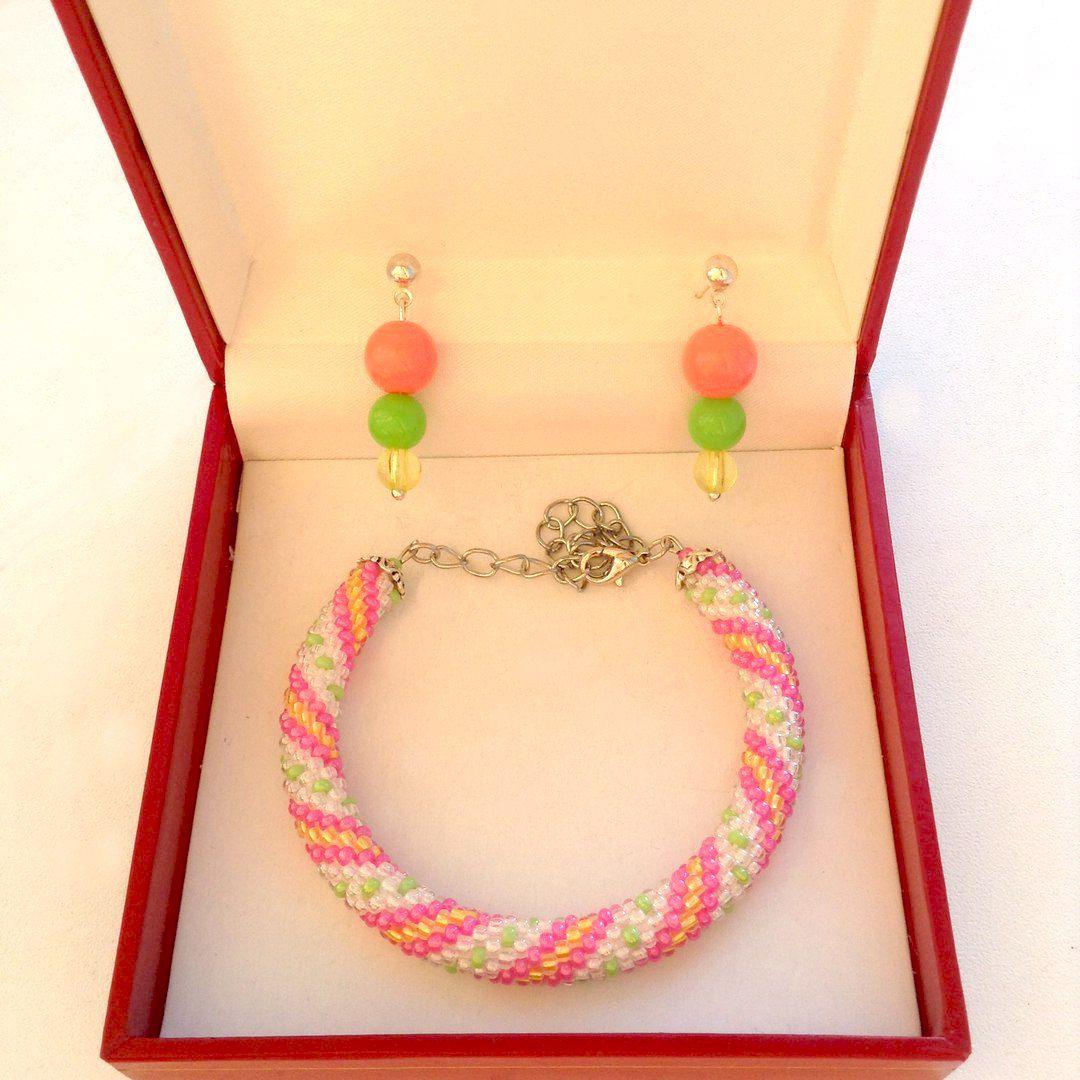 бусины украшение серьги браслет handmade бижутерия комплект