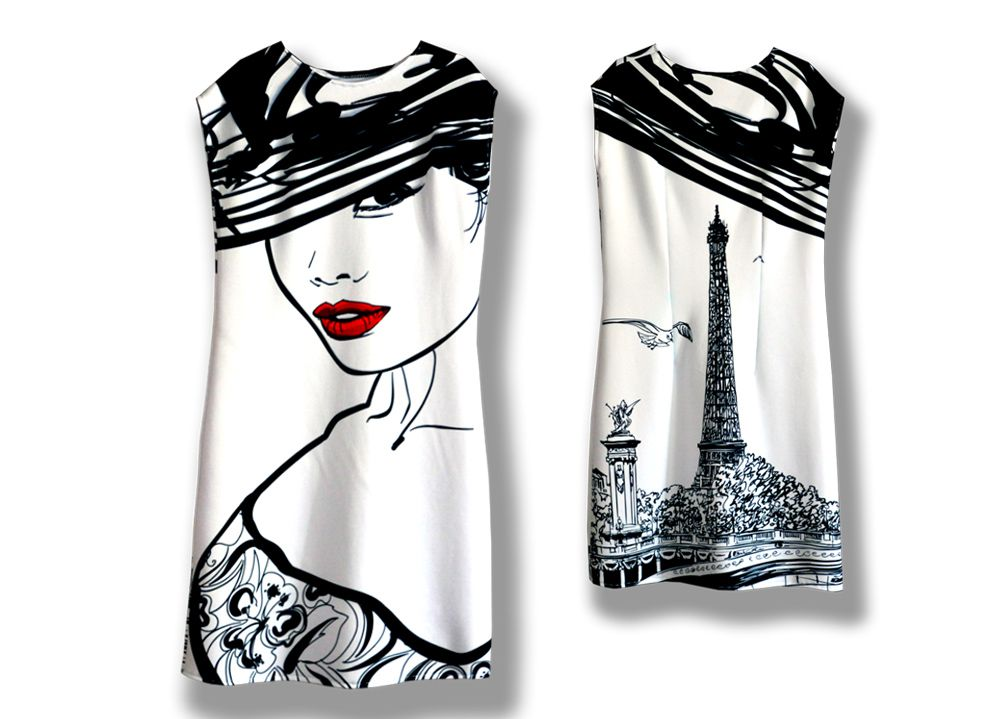 чернобелое эксклюзив платья трикотаж стильное комплект красный креатив фотопринт лицо принт с париж детям белое модное мамы подарок чёрнобелое лицами парижанка дочери