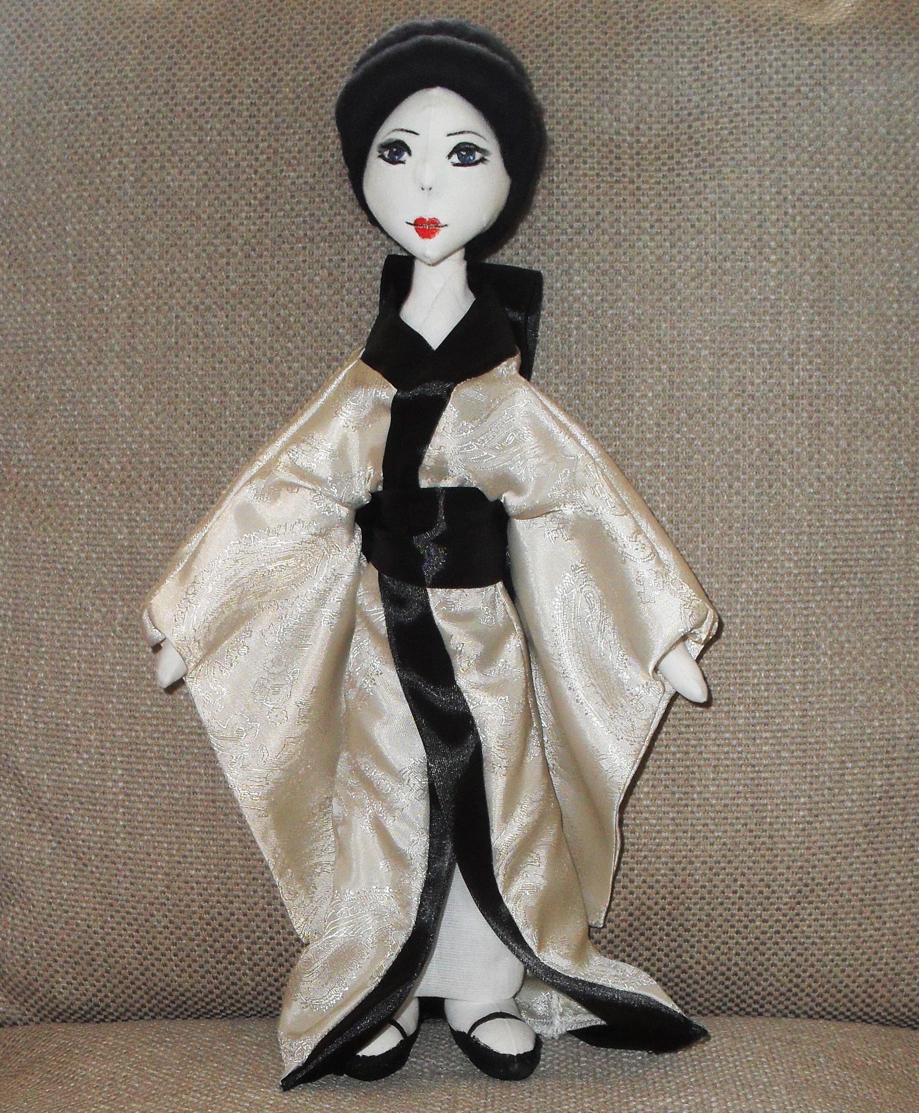 япония японский японочка кукла интерьерная текстильная атлас стиль