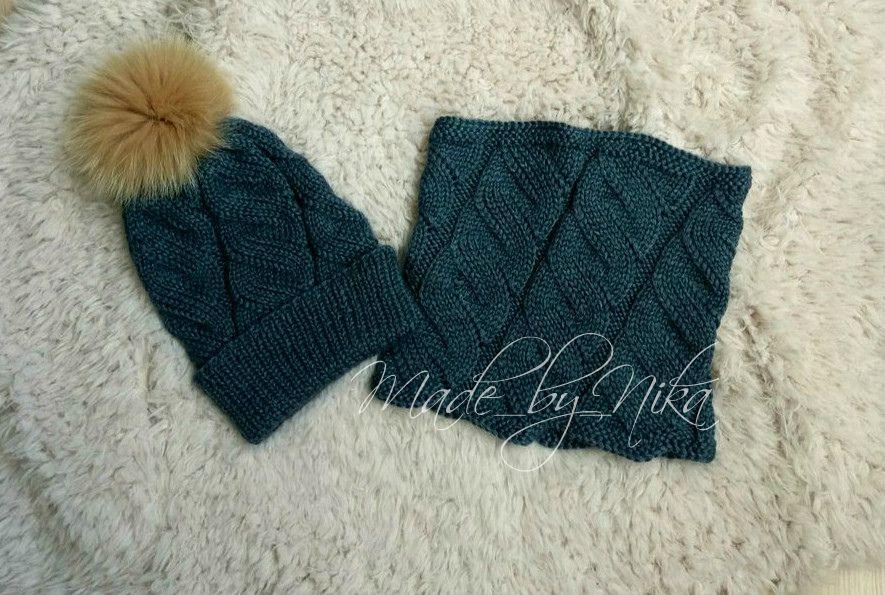 длядевочки назаказ головныеуборы аксессуары шапка комплект вязание снуд длядетей спомпоном
