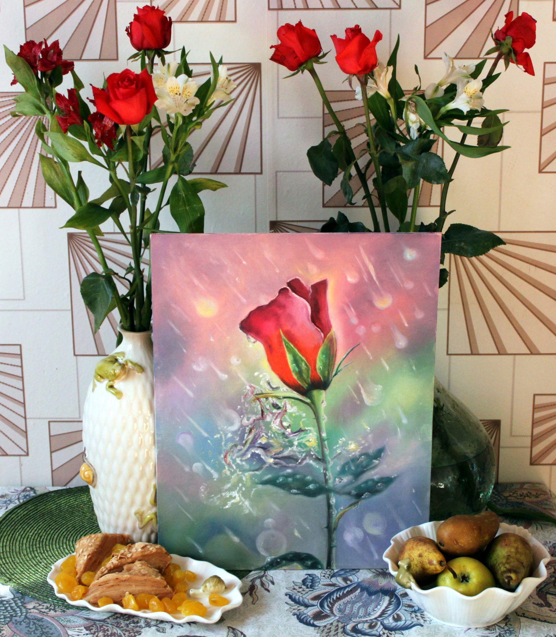 холст масло дождь роза капли цветы