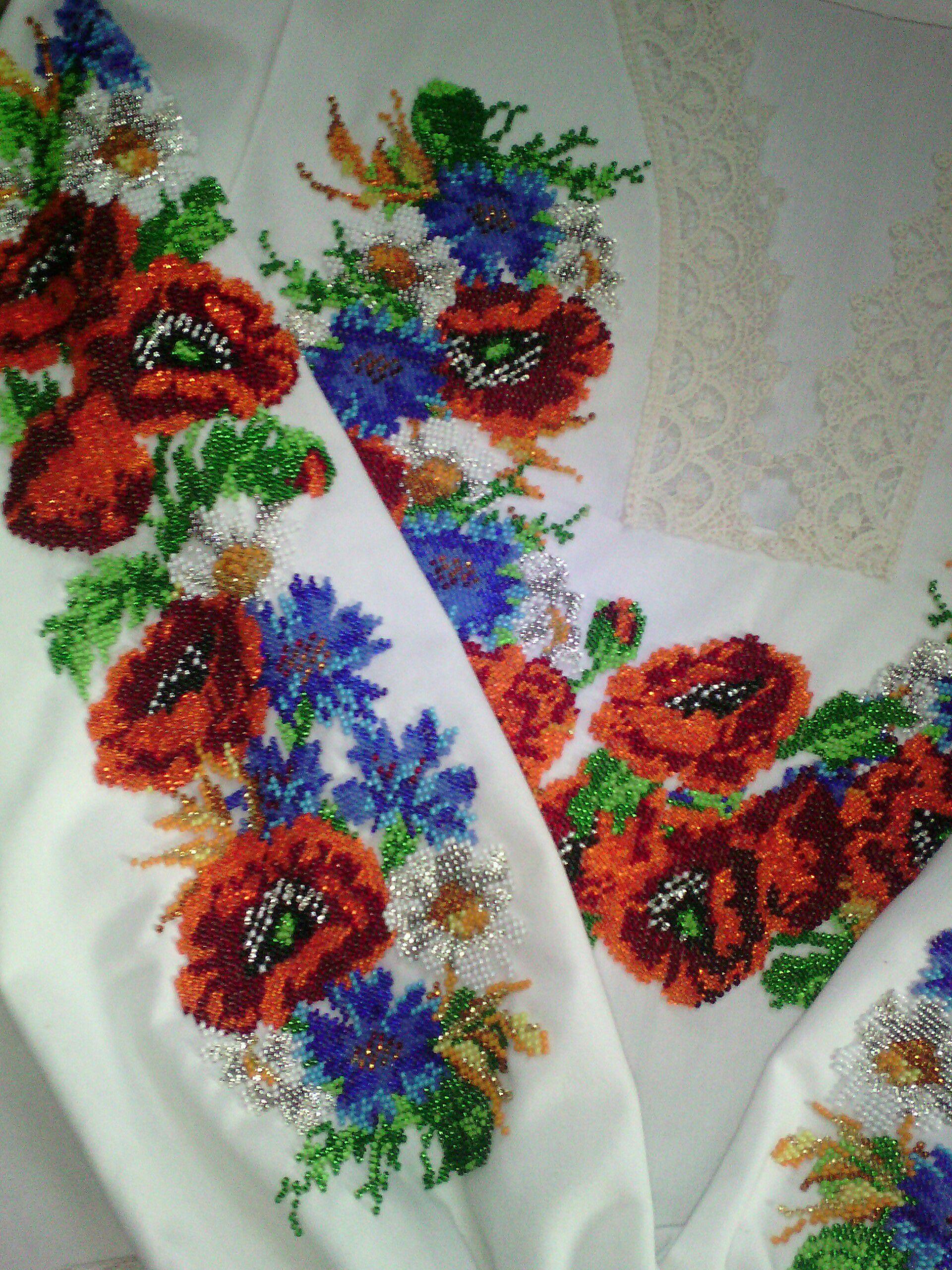 маки женщине бисер чешский блузка васильки вышиванка подарок