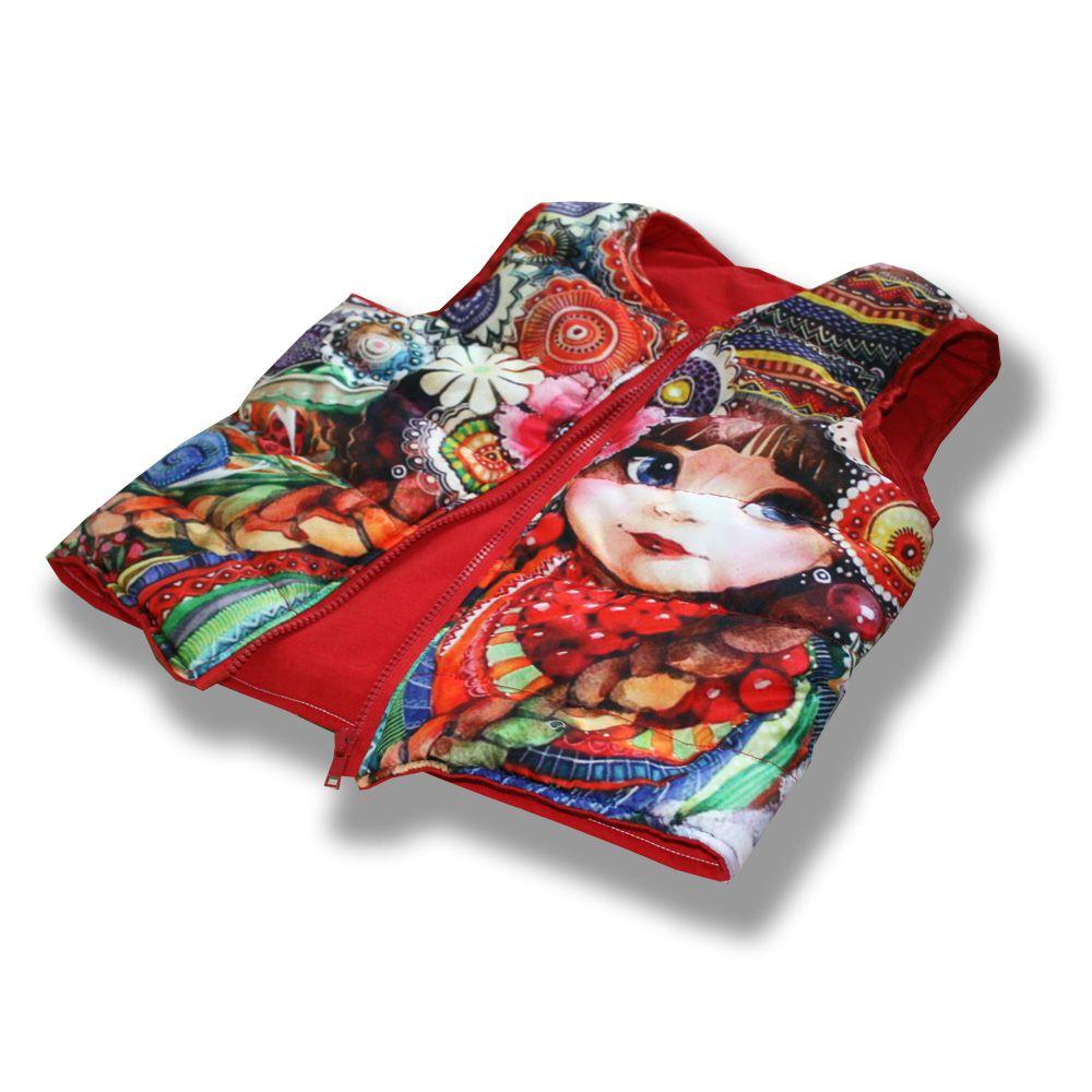 цветы рябина матрешка вещи работы ручной безрукавка косы плащевка сублимация матрёшка принт handmade фотопринт синтепон трикотаж ромашки зайка куртка жилет красная цветная детская