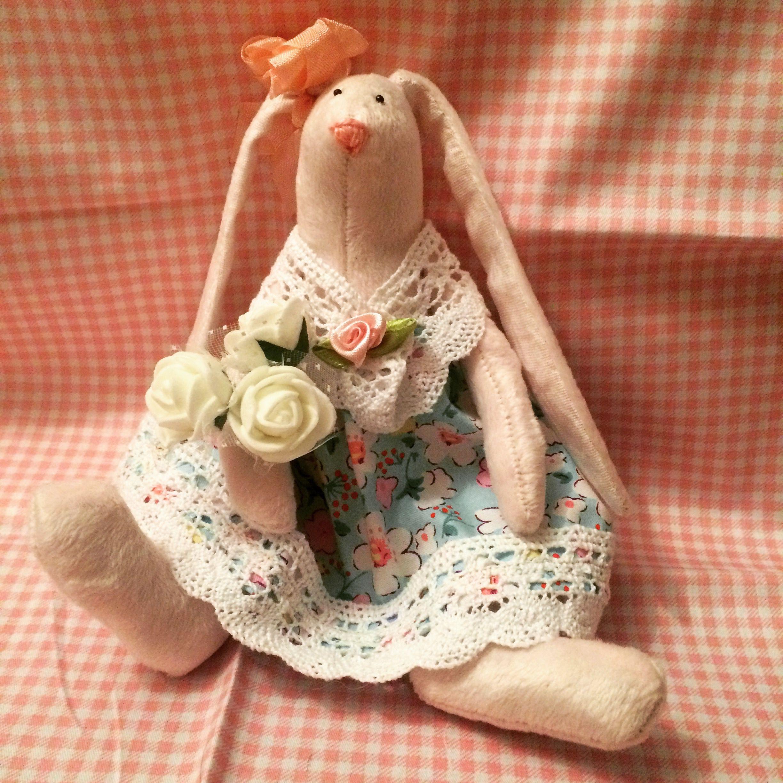 интерьерная игрушка заяц плюшевый ткани подарок текстильная