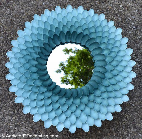 дома ложек повторное использование пластиковых зеркала для из идеи рамка руками своими