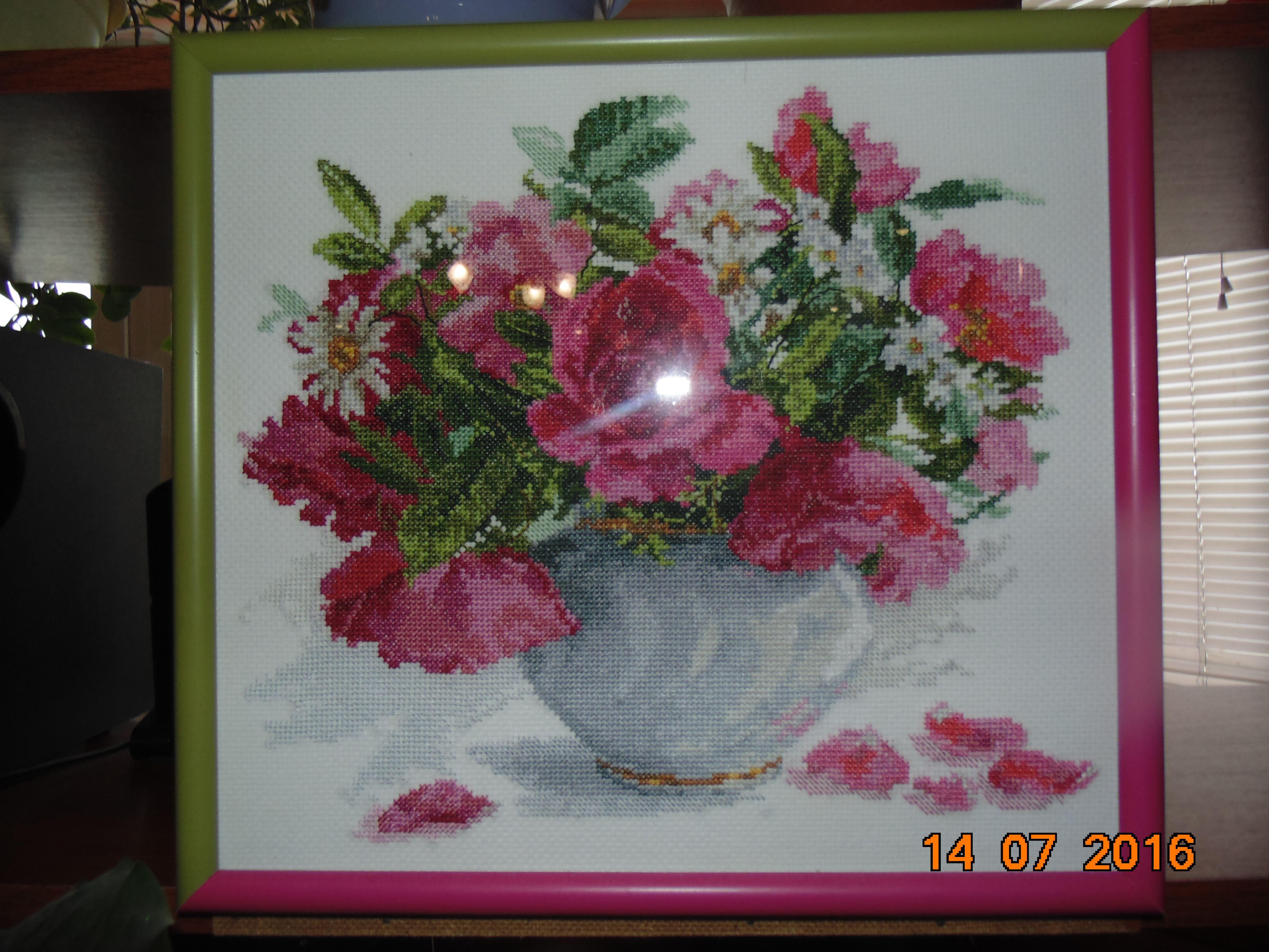 цветы картина вышивка